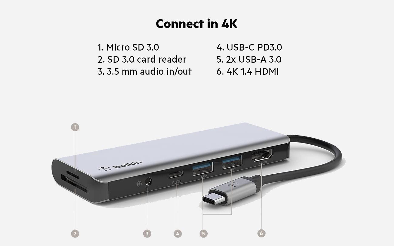 貝爾金USB-C 7 合1 多端口轉接器