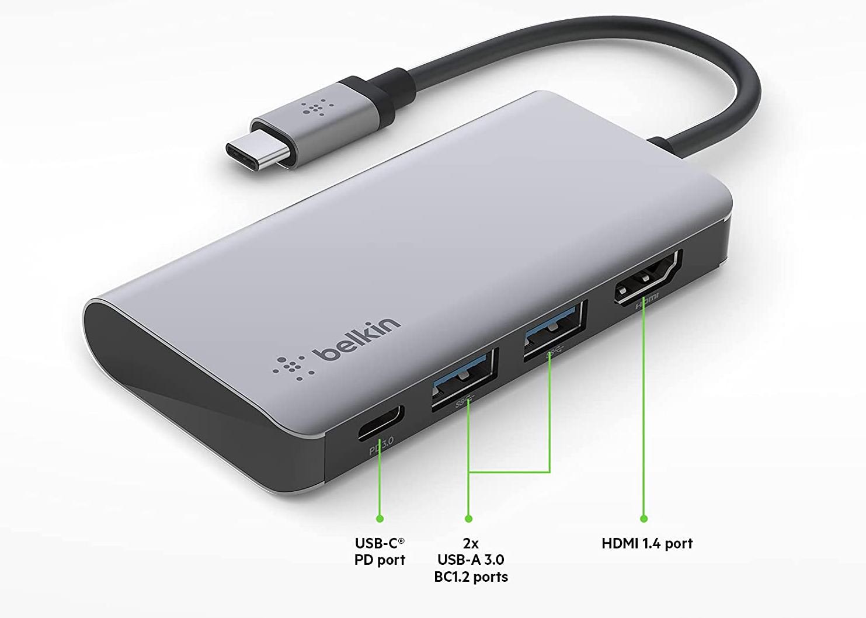 貝爾金USB C 集線器,4 合1 多口轉接器底座
