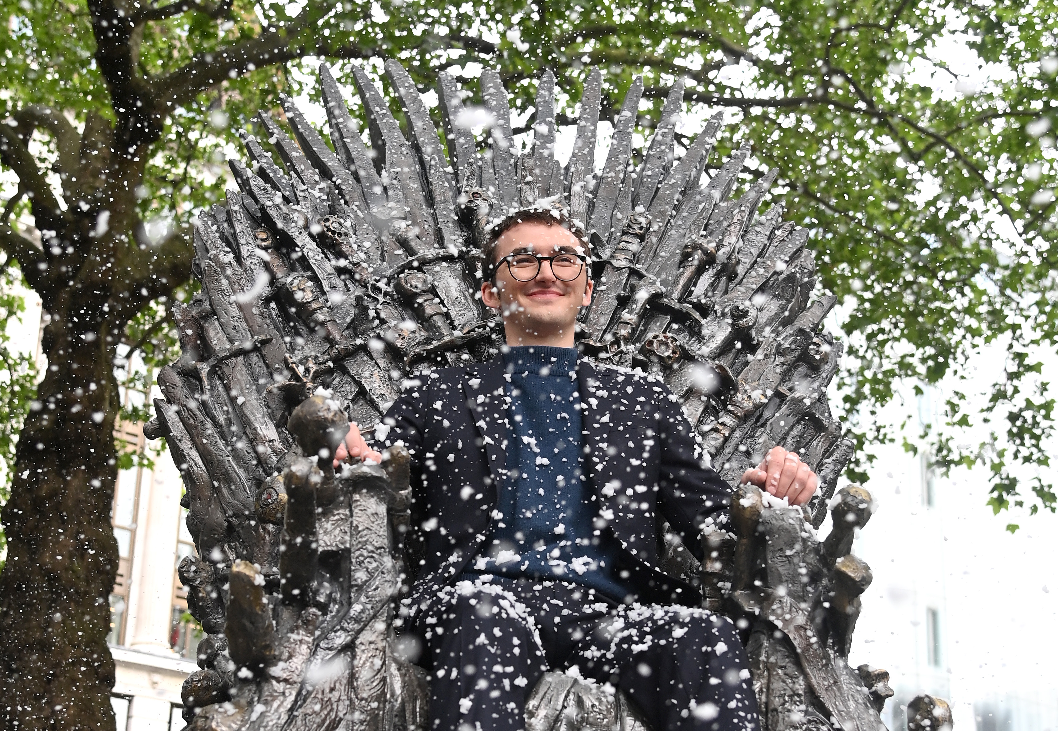 """<p>LONDON, ENGLAND - JUNE 22:  Isaac Hempstead Wright attends the Game Of Thrones Iron Statue unveiling in Leicester Square on June 22, 2021 in London, England. The statue marks the tenth anniversary of Game of Thrones and is the 10th statue unveiled as part of Leicester Square's """"Scenes in the Square"""". (Photo by Karwai Tang/WireImage)</p>"""