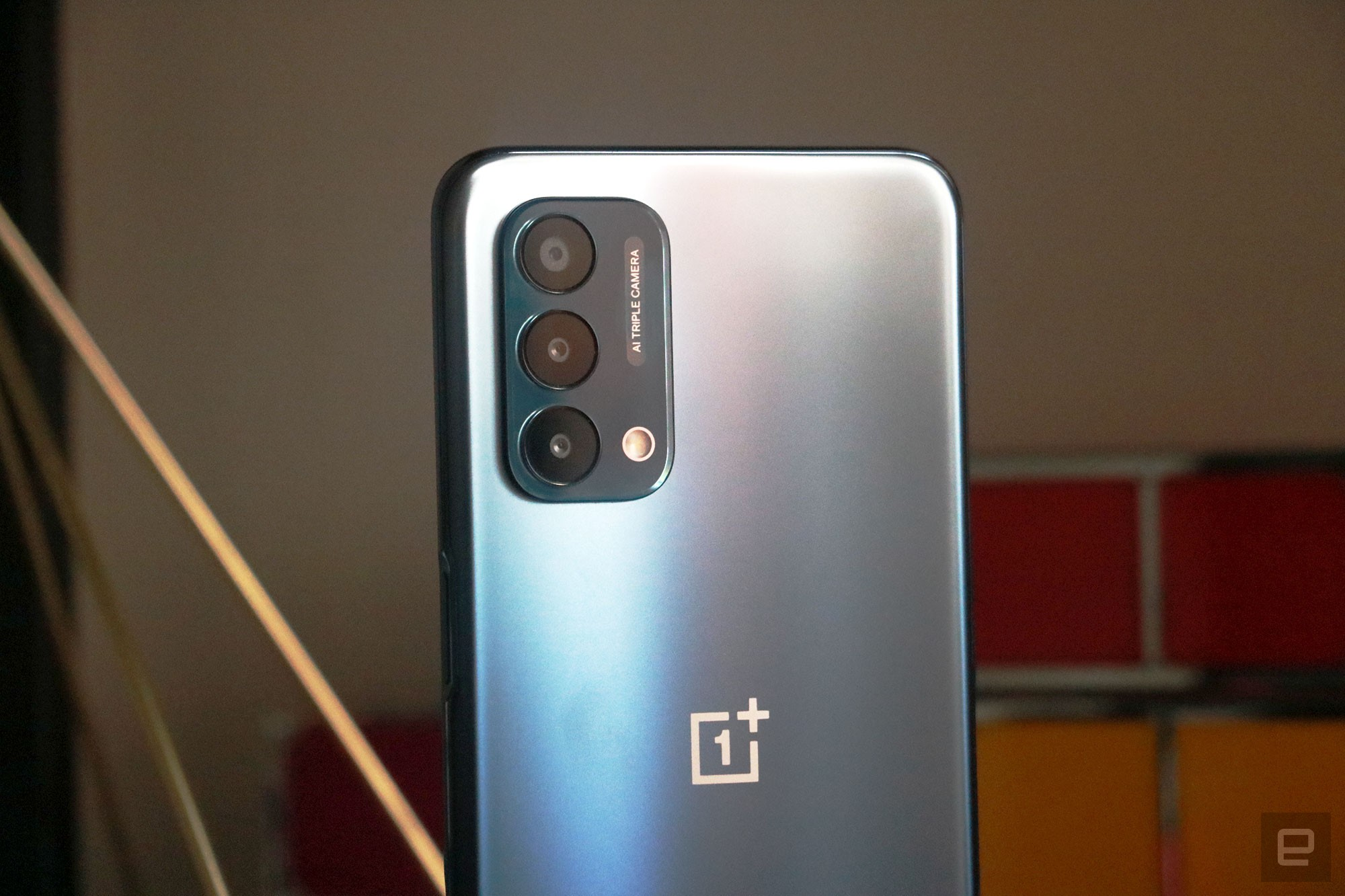 <p>OnePlus Nord N200 5G. A closeup shot of the three cameras on the phone's rear.</p>