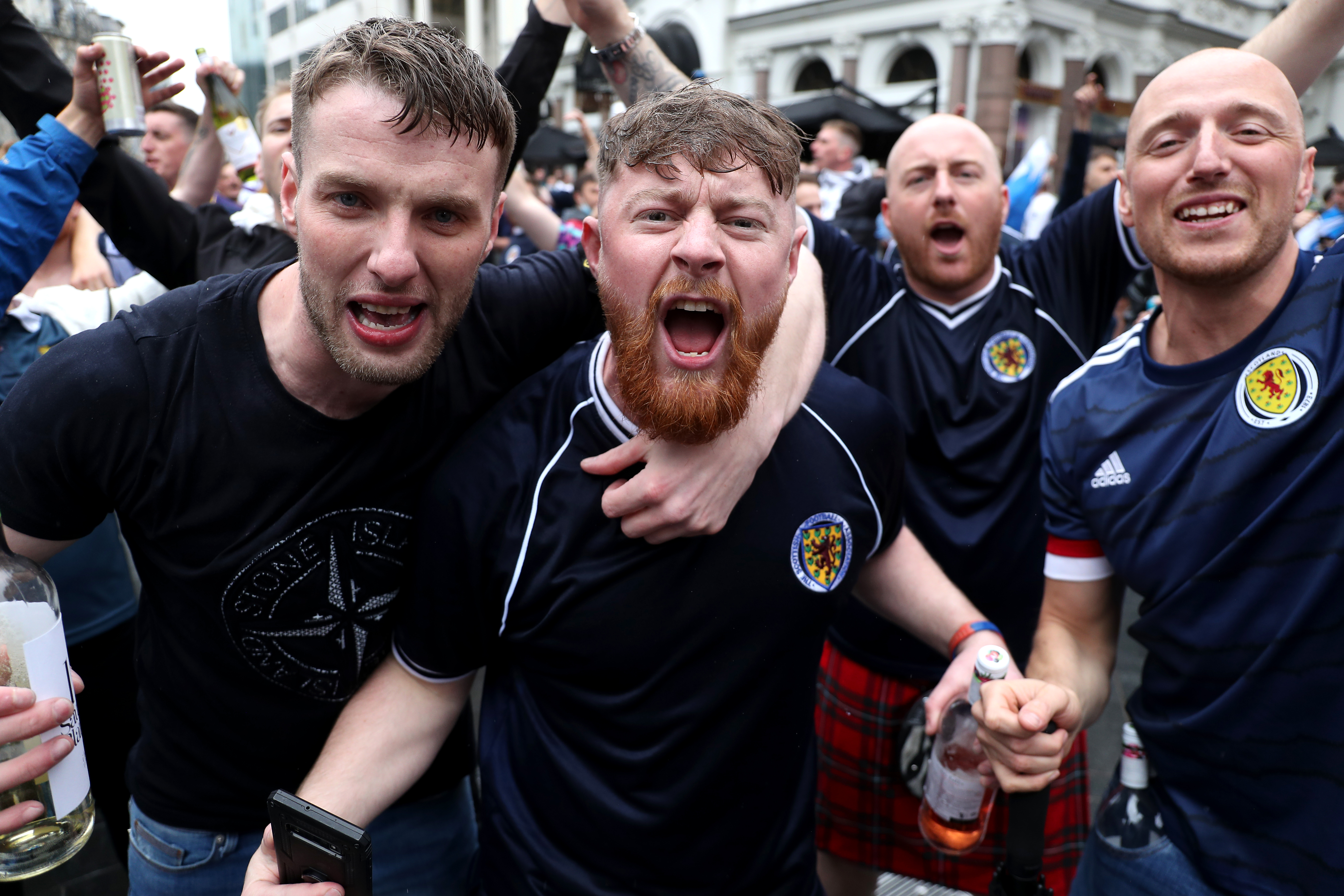 <p>Scotland fans gather in Leicester Square before the UEFA Euro 2020 match between England and Scotland later tonight. Picture date: Friday June 18, 2021.</p>
