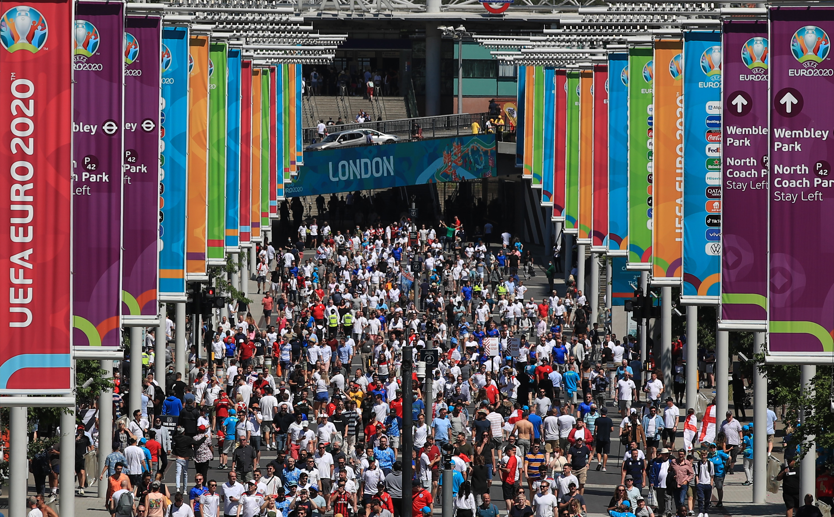 <p>LONDON, ENGLAND - JUNE 13:  A general view of Wembley Way and fans prior to the UEFA Euro 2020 Championship Group D match between England and Croatia on June 13, 2021 in London, United Kingdom. (Photo by Marc Atkins/Getty Images)</p>