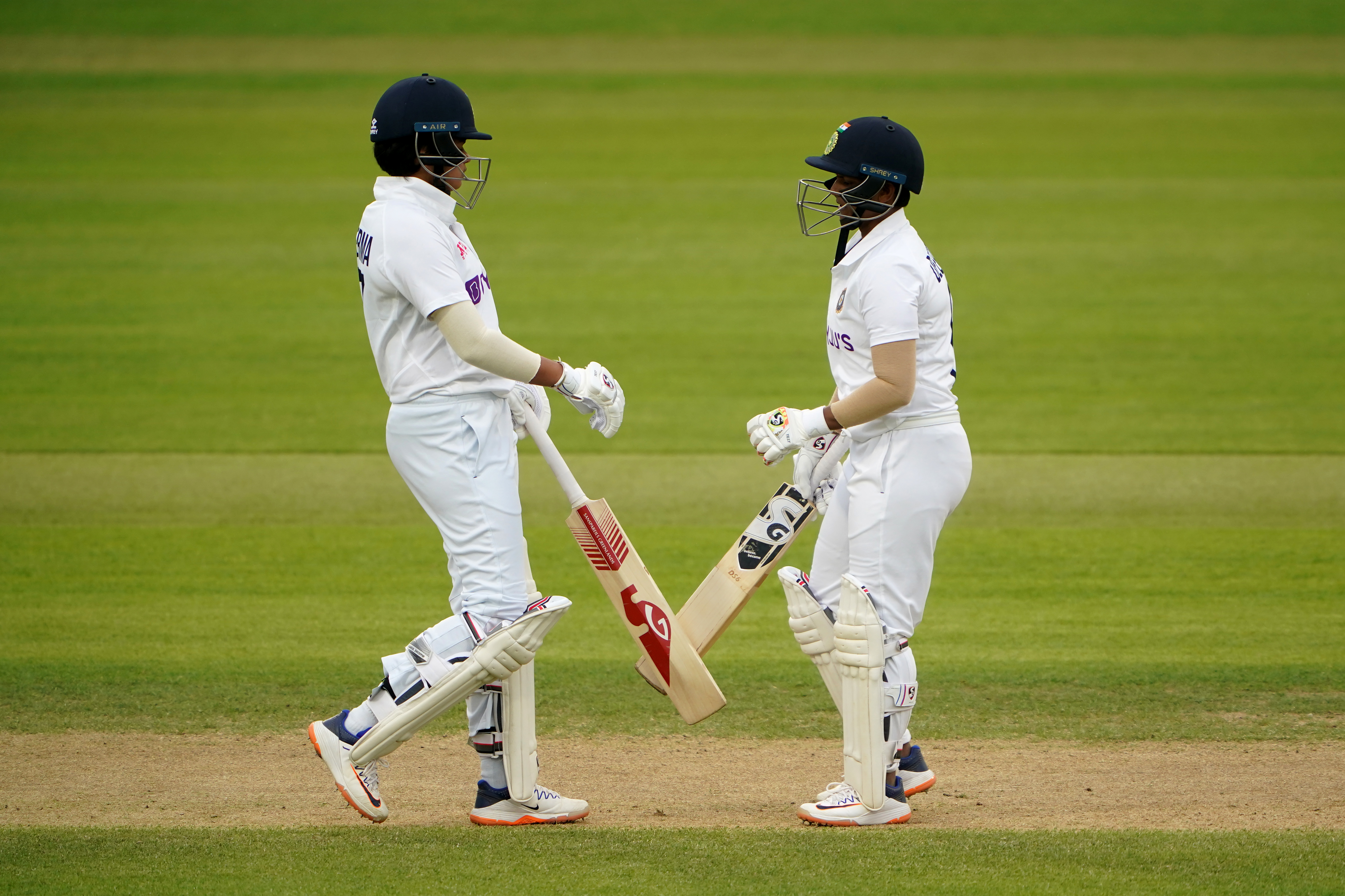 <p>India's Shafali Verma (left) and Deepti Sharma during day three of the Women's International Test match at the Bristol County Ground. Picture date: Friday June 18, 2021.</p>