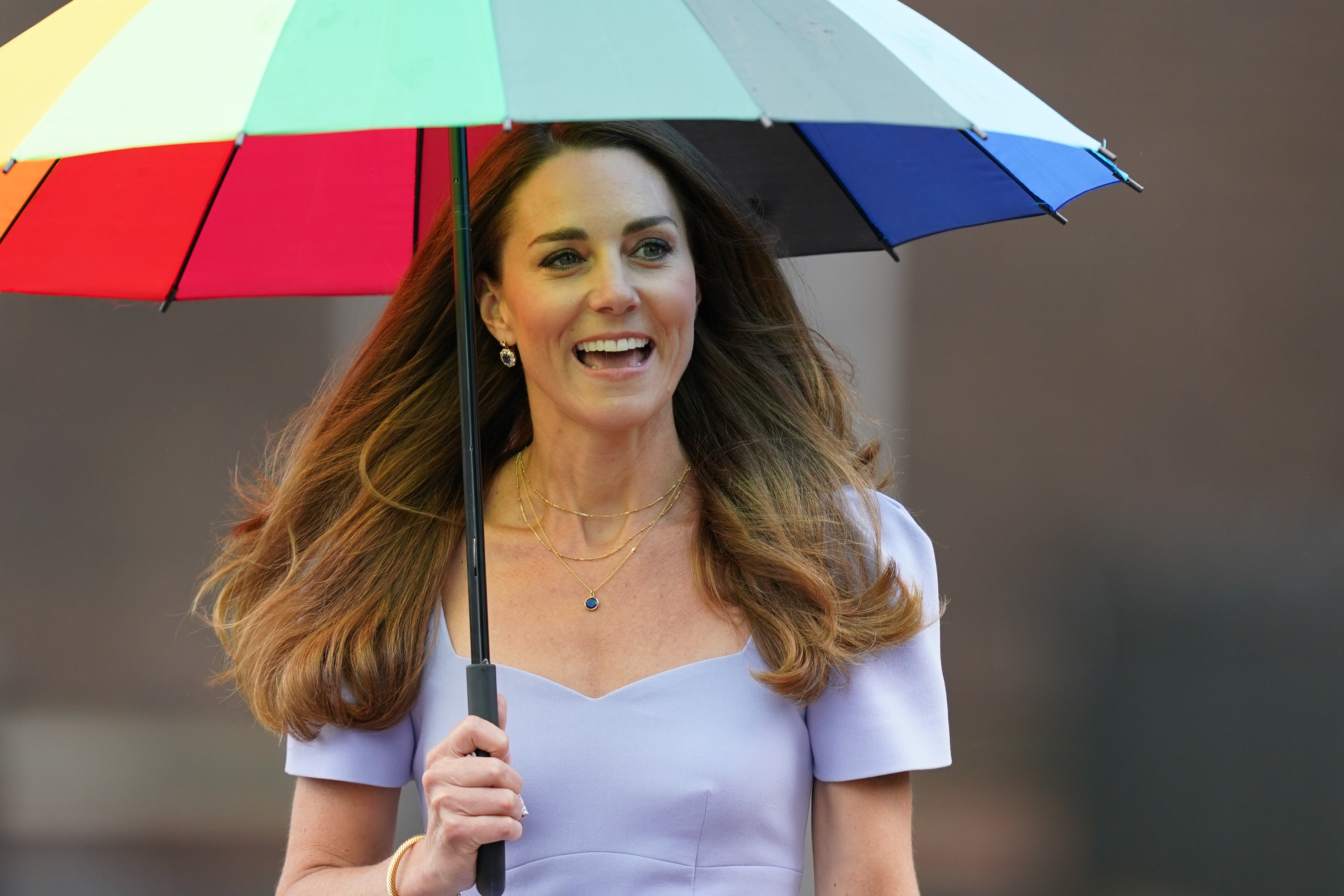<p>The Duchess of Cambridge arrives at Kensington Palace in London for a reception for parents of users of a Centre for Early Childhood, on the day of the launch of the Royal Foundation Centre for Early Childhood. Picture date: Friday June 18, 2021.</p>