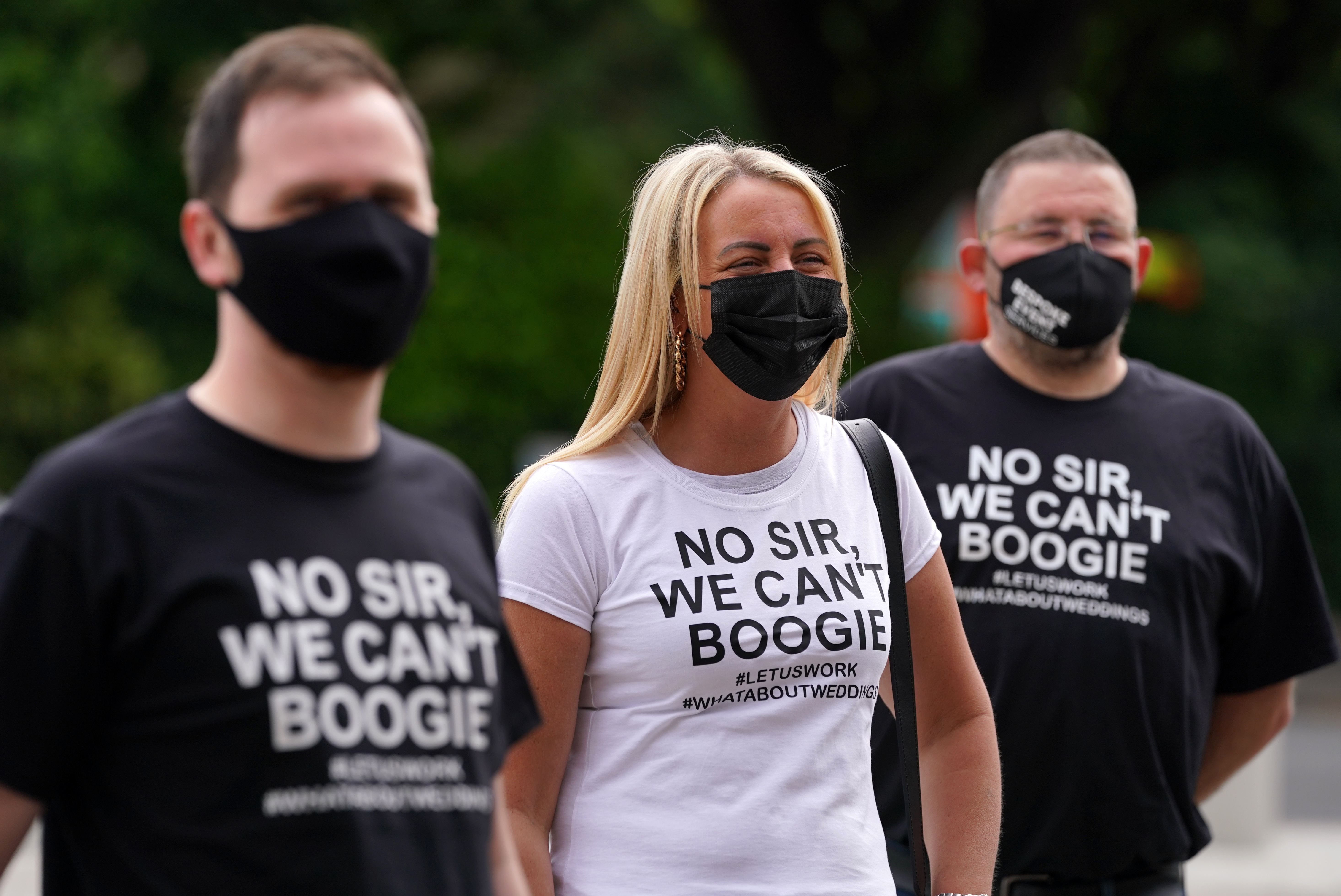 <p>Members of the wedding industry protesting outside the Scottish Parliament in Edinburgh asking for the lifting of restrictions on Weddings. Picture date: Monday June 21, 2021.</p>