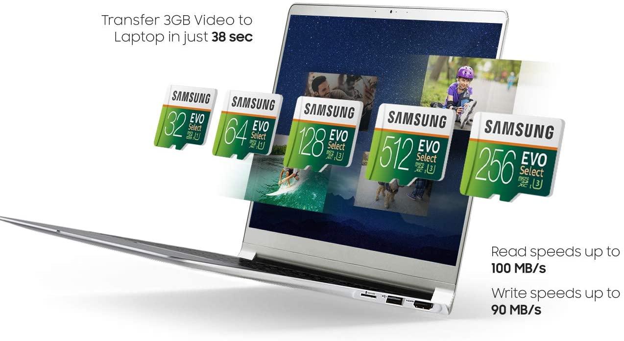 Samsung 三星 EVO Select microSDXC UHS-I U1 100MB/s 全高清和 4K UHD 記憶卡