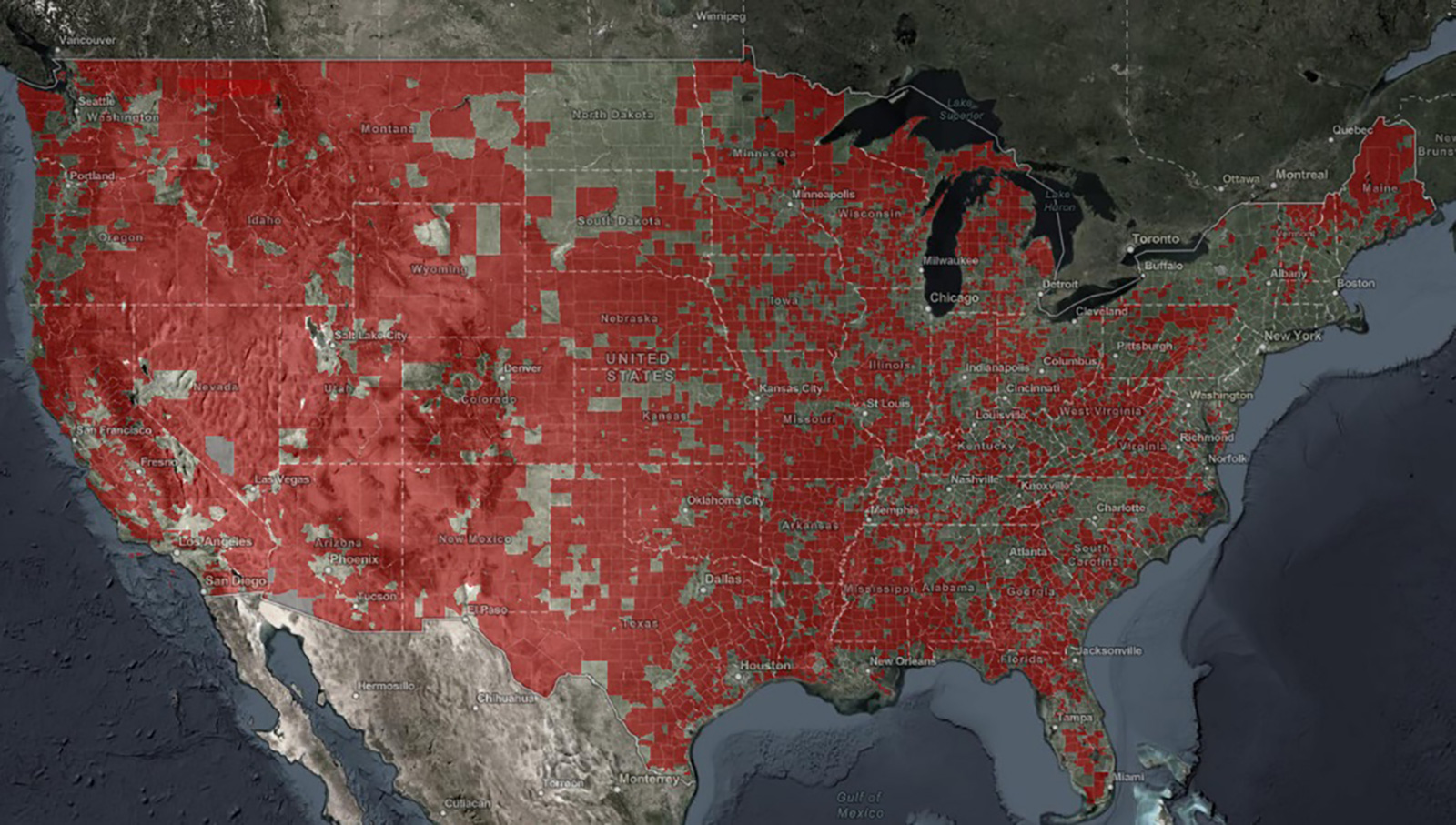 NTIA's interactive broadband map highlights the digital divide