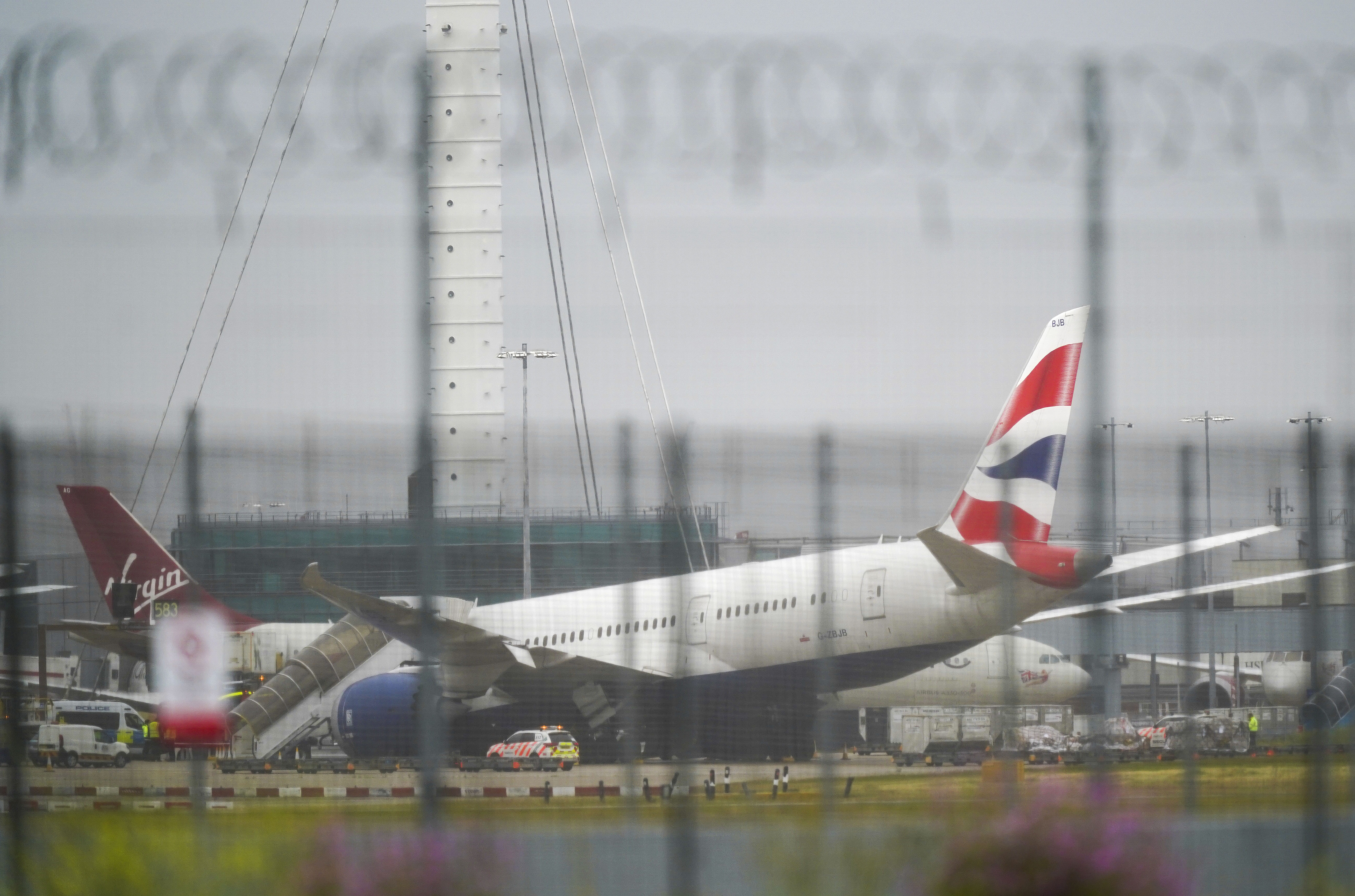 <p>A British Airways plane at Heathrow airport in west London which has been damaged after tipping on to its nose. Picture date: Friday June 18, 2021.</p>