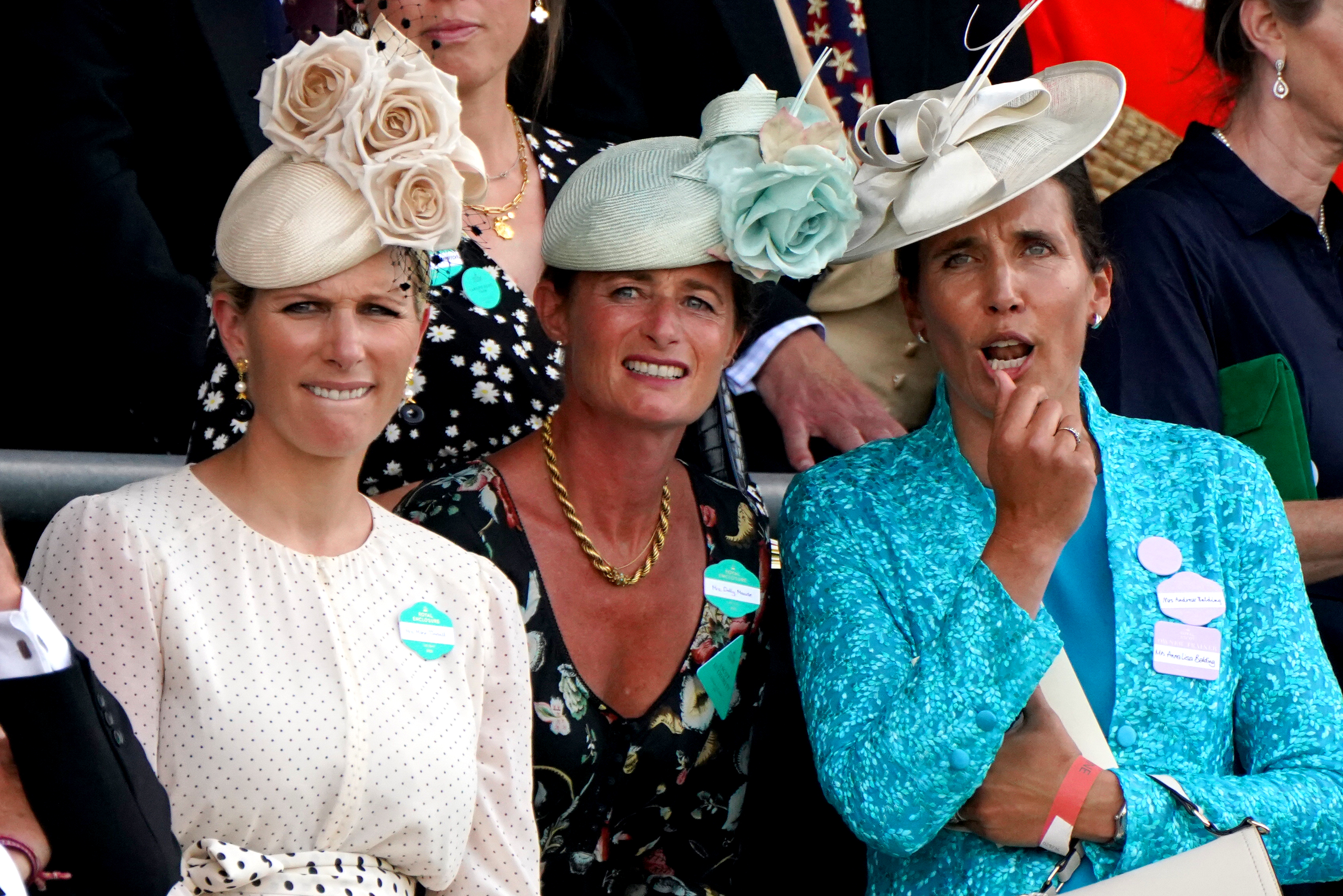 <p>Zara Tindall (left), Dolly Maude and Anna Lisa Balding (right) react as they watch the King's Stand Stakes during day one of Royal Ascot at Ascot Racecourse. Picture date: Tuesday June 15, 2021.</p>