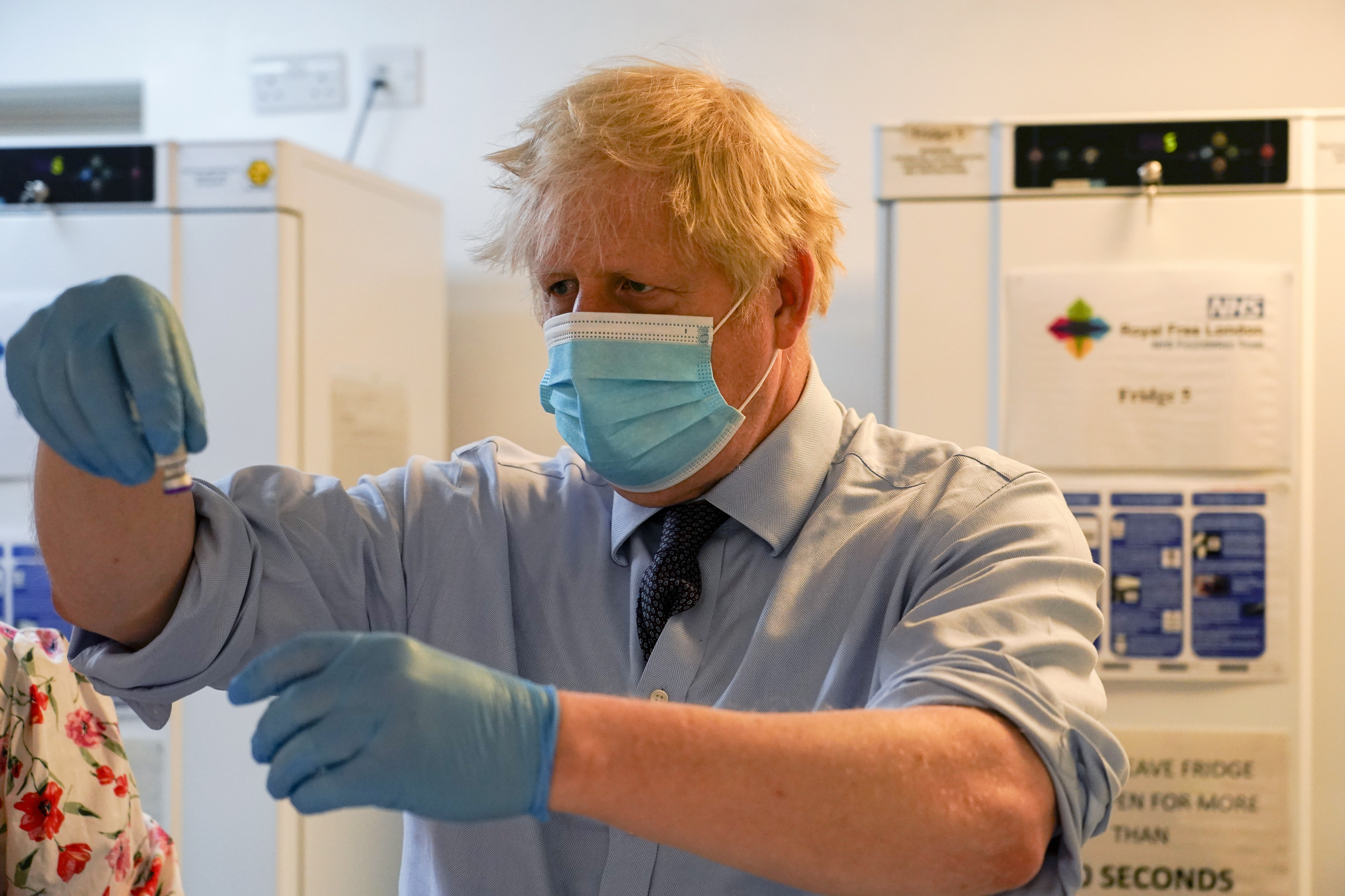 <p>Prime Minister Boris Johnson during a visit to a COVID 19 vaccination centre at the StoneX Stadium, home of rugby union club Saracens, in north London. Picture date: Monday June 21, 2021. See PA story HEALTH Coronavirus. Photo credit should read: Alberto Pezzali/PA Wire</p>