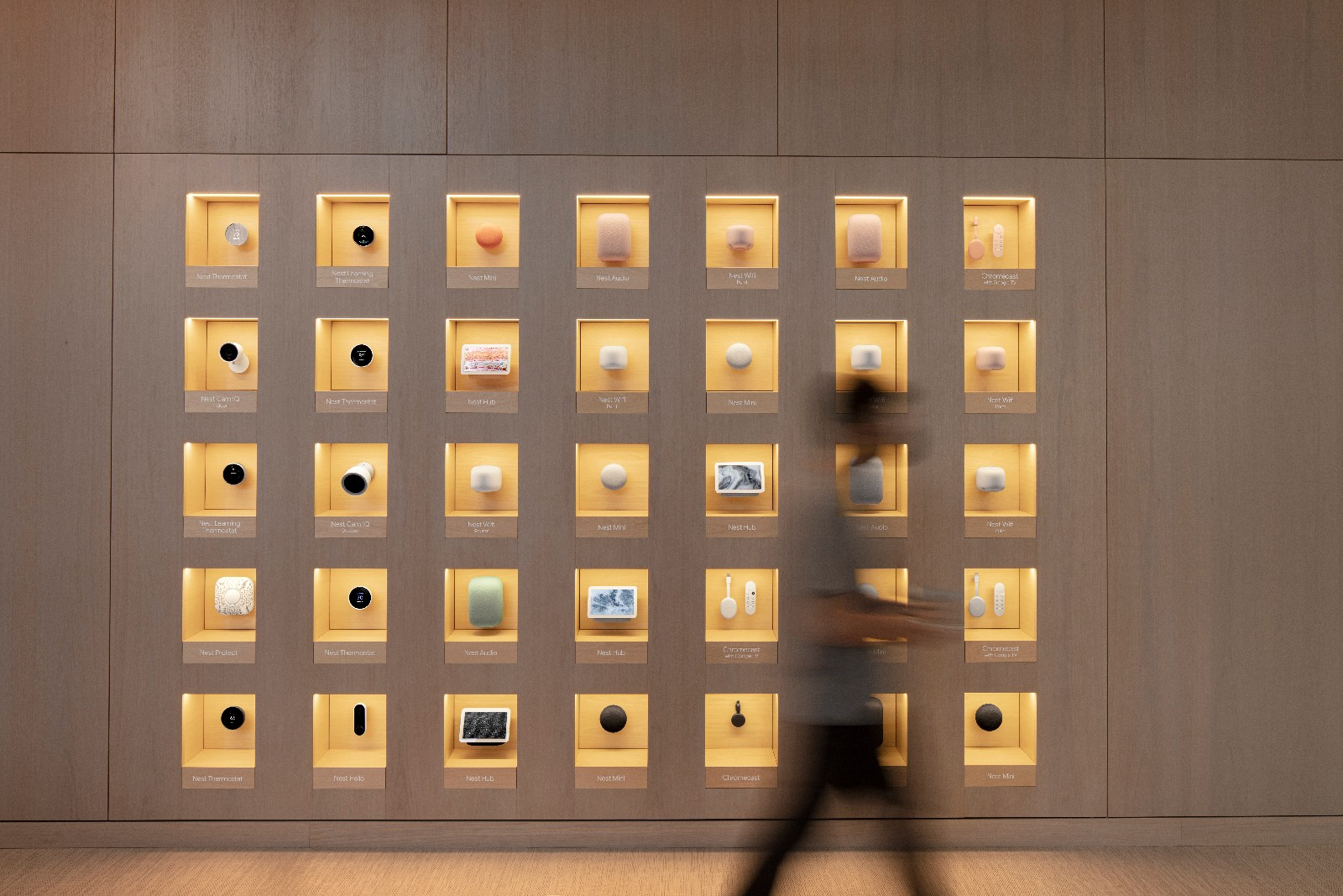 <p>Google Store Chelsea. Nest Wall -- a wall featuring five rows of seven columns of boxes each holding a Nest product.</p>