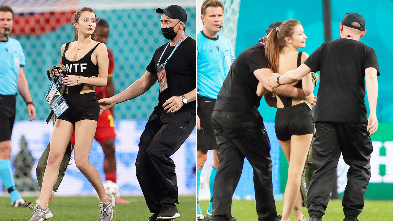 Scantily-clad pitch invader in audacious Euro 2020 stunt