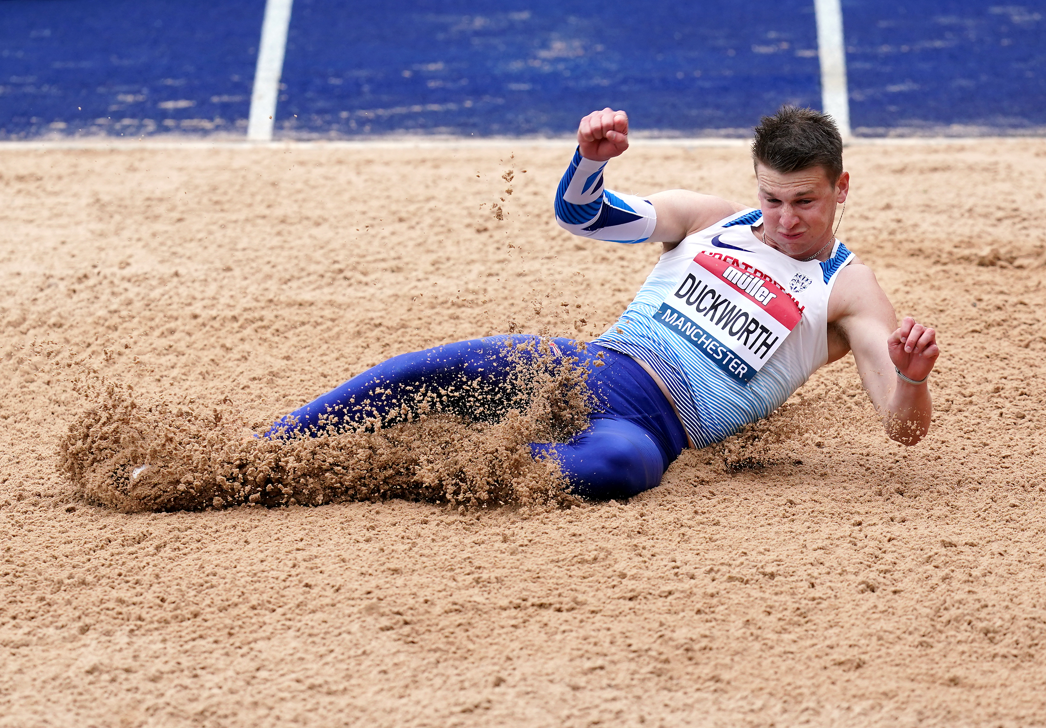 <p>Tim Duckworth during the Long Jump in the decathlon during day one of the Muller British Athletics Championships at Manchester Regional Arena. Picture date: Friday June 25, 2021.</p>