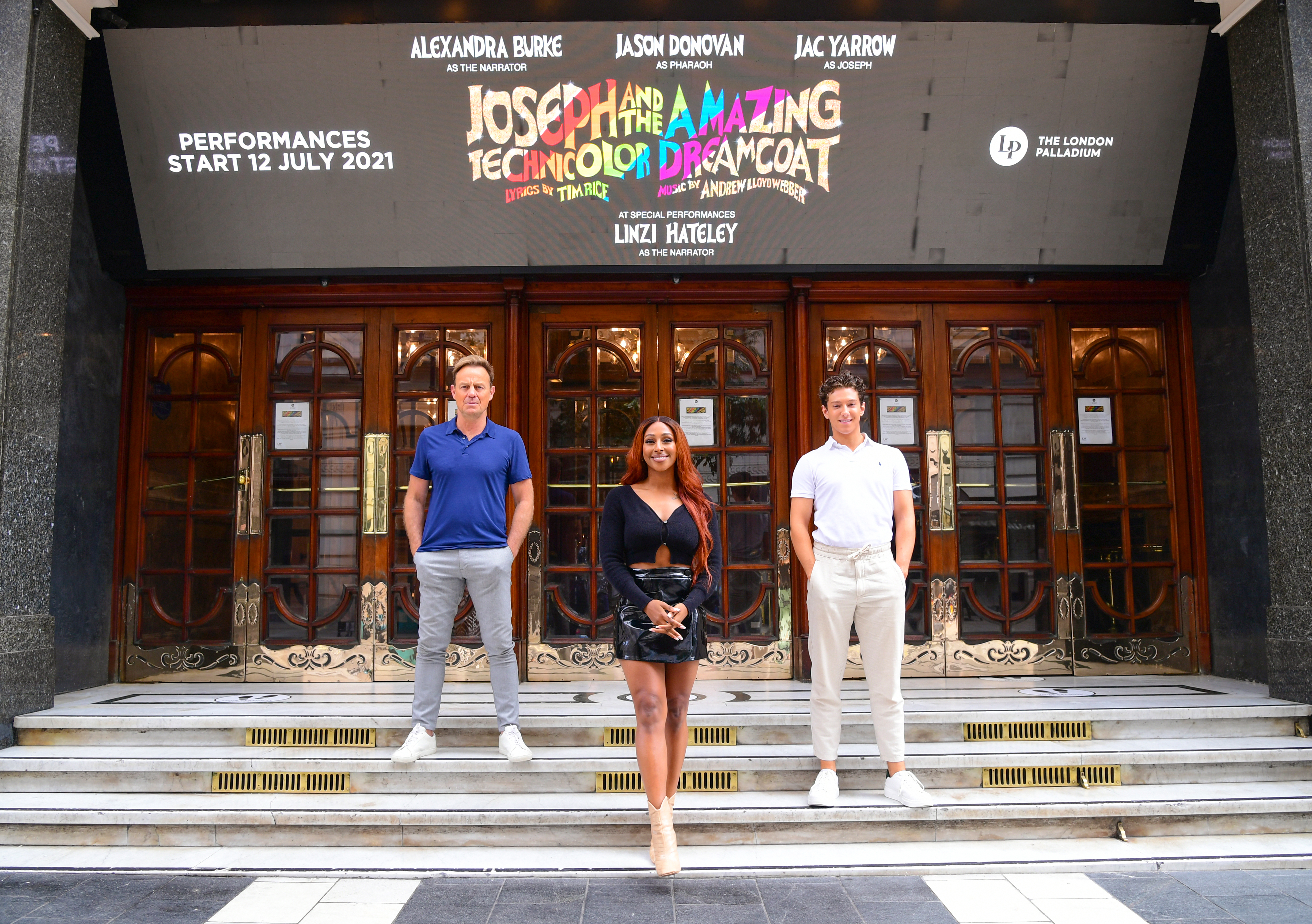 <p>(left to right) Jason Donovan, Alexandra Burke and Jac Yarrow during a media day for the musical Joseph and the Technicolor Dreamcoat at the London Palladium. Picture date: Monday July 12, 2021.</p>