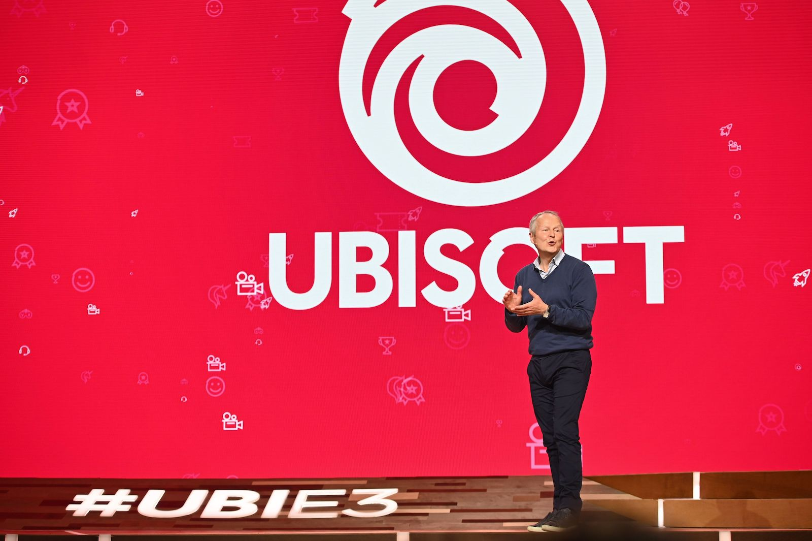 Ubisoft CEO Yves Guillemot speaks on stage at the Ubisoft E3 press conference in Los Angeles, June 10, 2019. - The E3 Electronic Entertainment Expo takes place at the Los Angeles Convention Center June 11-13. (Photo by Robyn Beck / AFP) (Photo by ROBYN BECK/AFP via Getty Images)