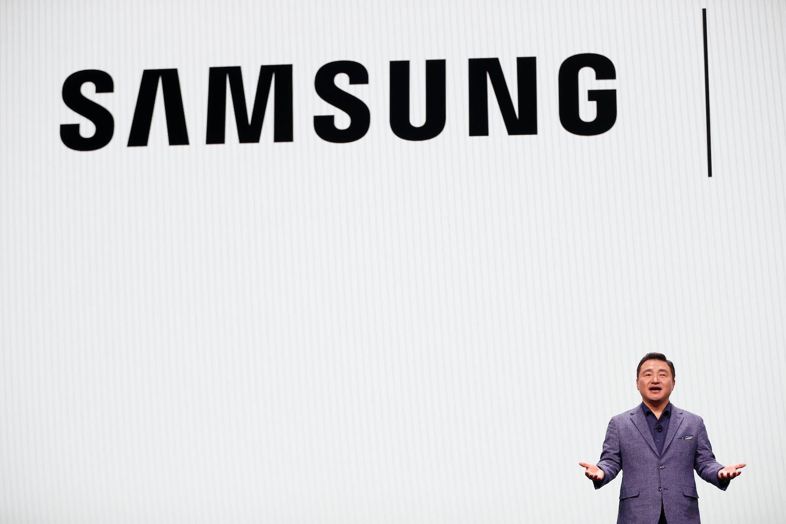 TM Roh, president & head of mobile communications business of Samsung Electronics, speaks on the stage during Samsung Galaxy Unpacked 2020 in San Francisco, California, U.S. February 11, 2020. REUTERS/Stephen Lam - RC2LYE959V9H