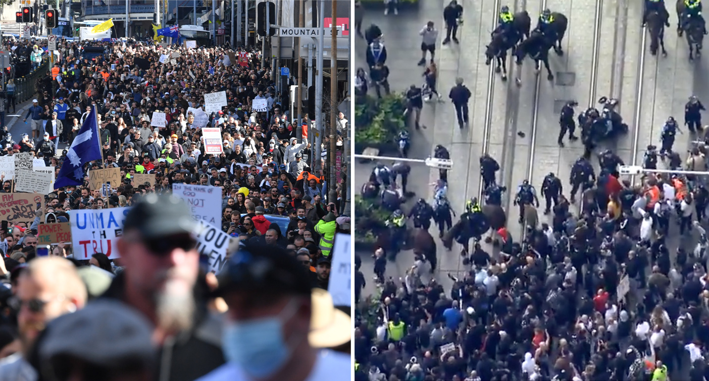 Violent scenes as police clash with lockdown protesters in Sydney