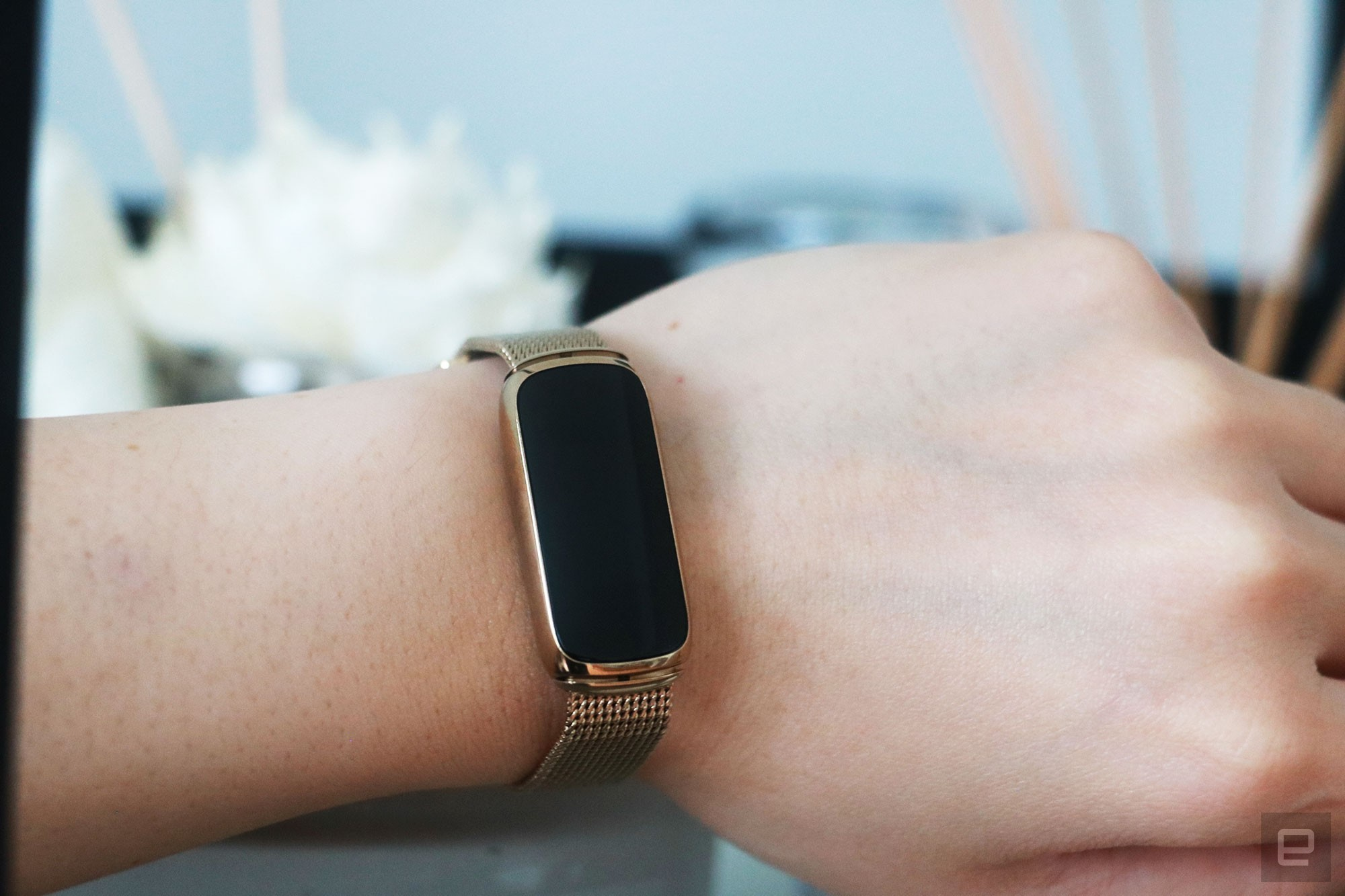<p>The Fitbit Luxe with a gold mesh bracelet on a wrist leaning against a book shelf.</p>