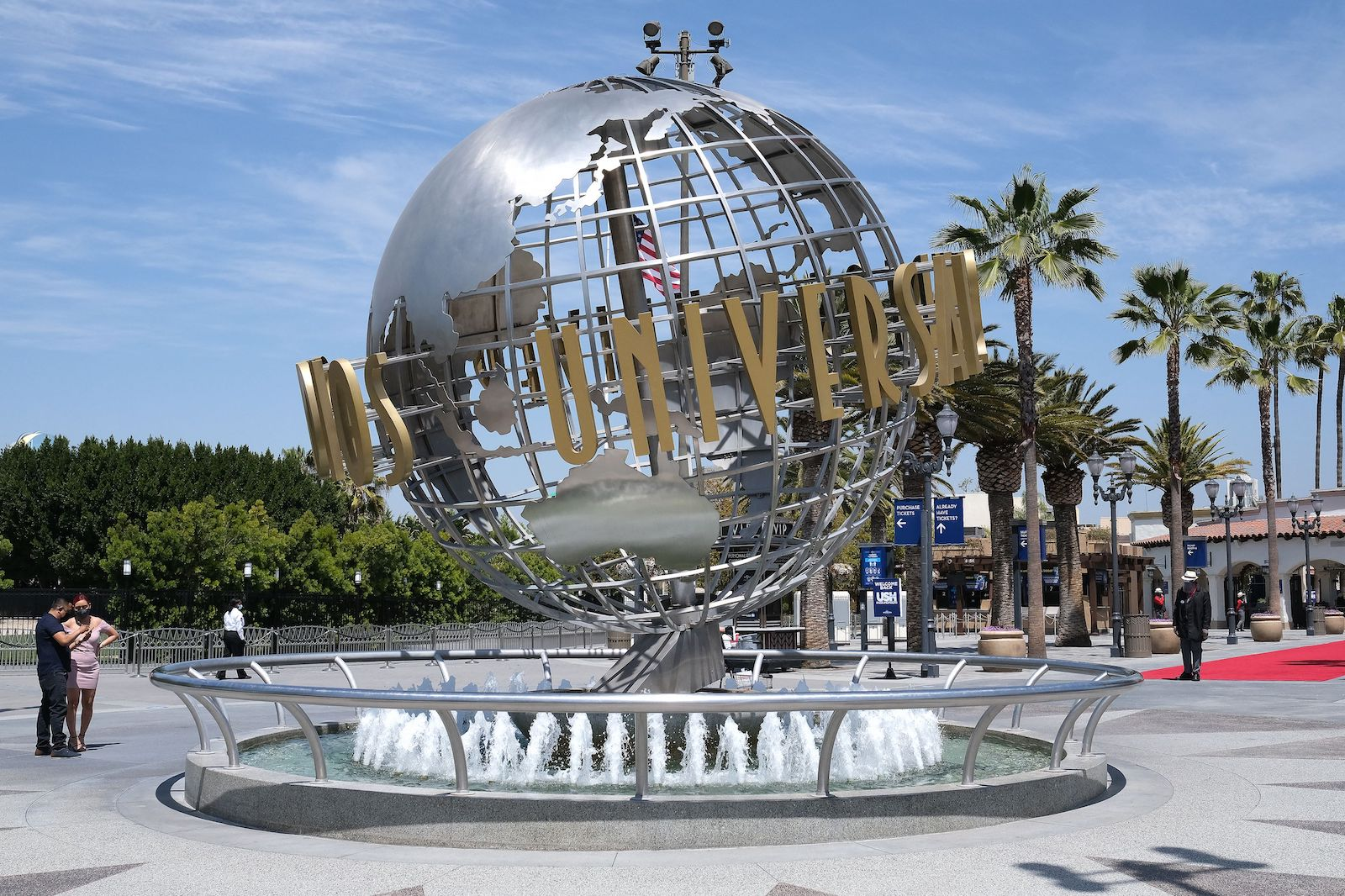 The Universal Studios globe fountain is pictured as season pass holders attend to the opening day in Los Angeles, California, on April 15, 2021. - Universal Studios Hollywood will reopen on April 16 following more than a year of closures due to the Covid-19 pandemic. Annual and season passholders can return to the park on select dates during special preview Bonus Days running, April 15 through May 16. (Photo by LISA O'CONNOR / AFP) (Photo by LISA O'CONNOR/AFP via Getty Images)