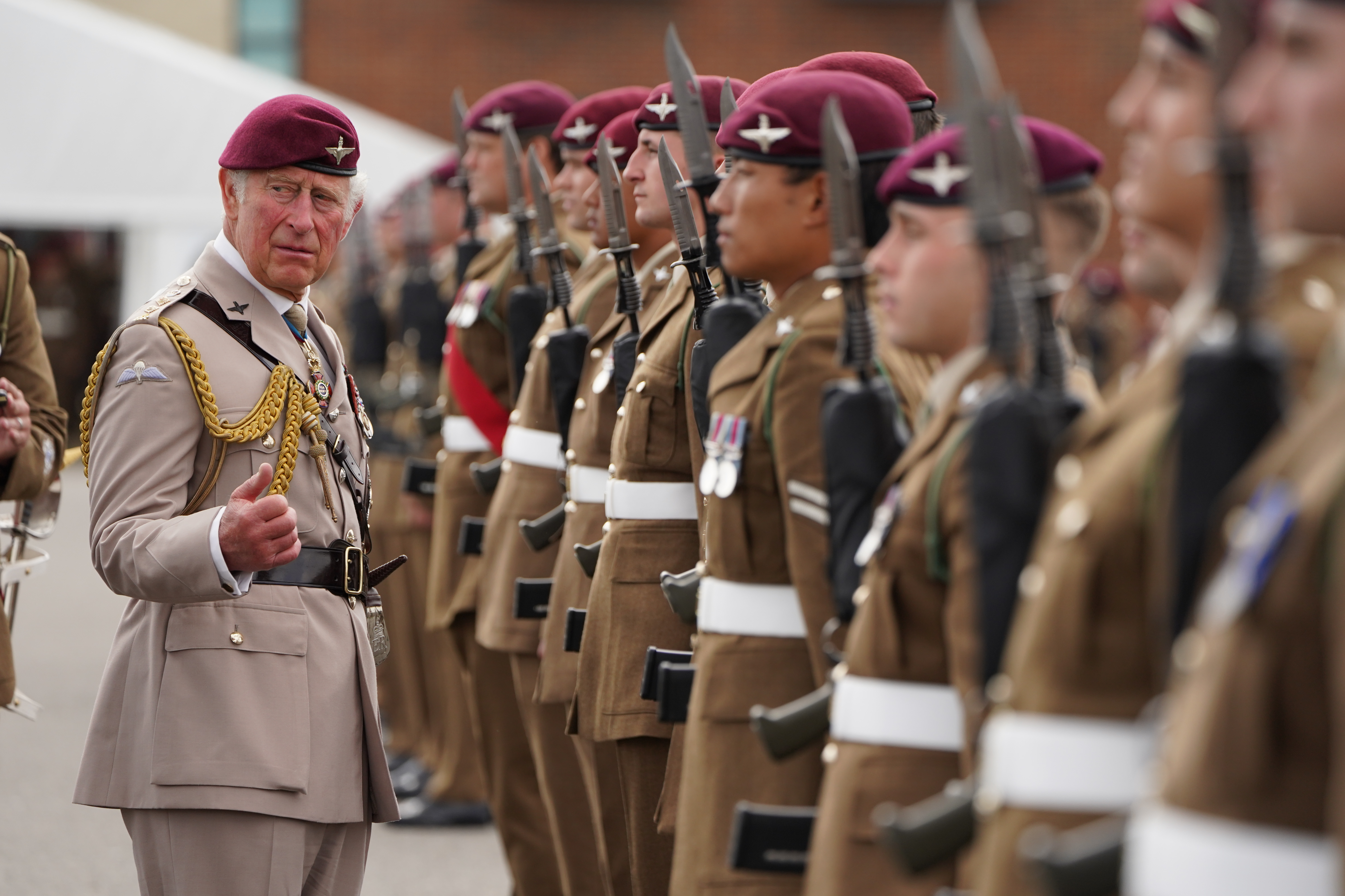 <p>The Prince of Wales, Colonel on Chief, inspects the front rank of representatives from 1st, 2nd and 3rd Battalions of the Parachute Regiment during a ceremony to present new colours to the Regiment at Merville Barracks in Colchester. Picture date: Tuesday July 13, 2021.</p>