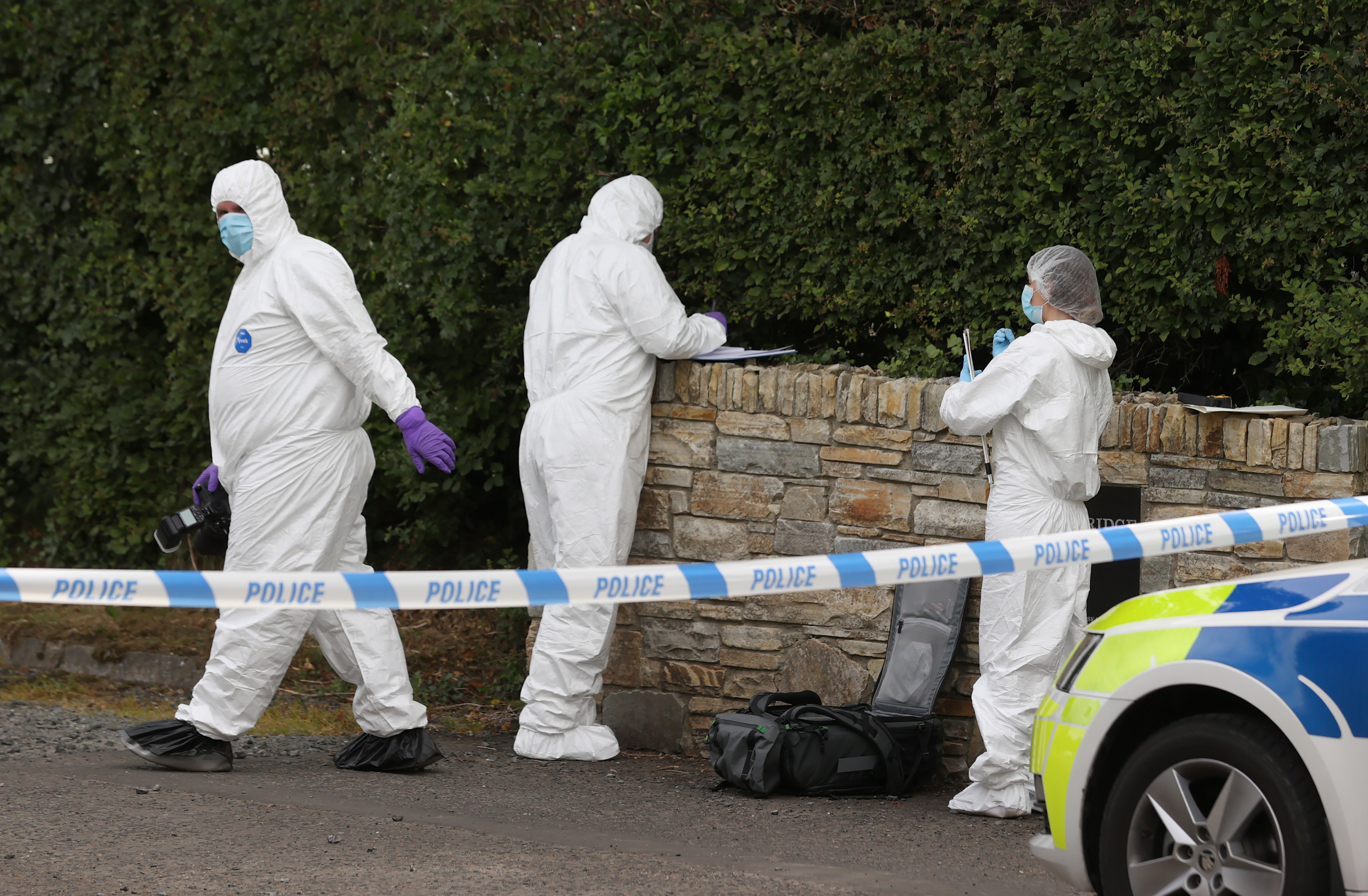 <p>Forensic officers at the Swanns Bridge Glamping site near near Limavady in Co Londonderry where a 37 years old woman was stabbed to death on Monday. A 53 year old man has been arrested and police said both the victim and the suspect were holidaymakers. Picture date: Tuesday July 13, 2021.</p>