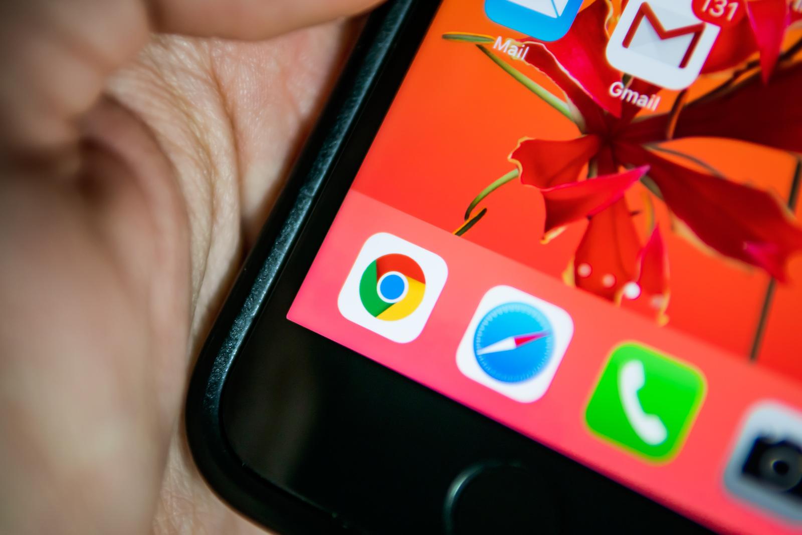 Bangkok, Thailand - July 21, 2019 : Google Chrome and Safari web browser applications on iPhone 7.