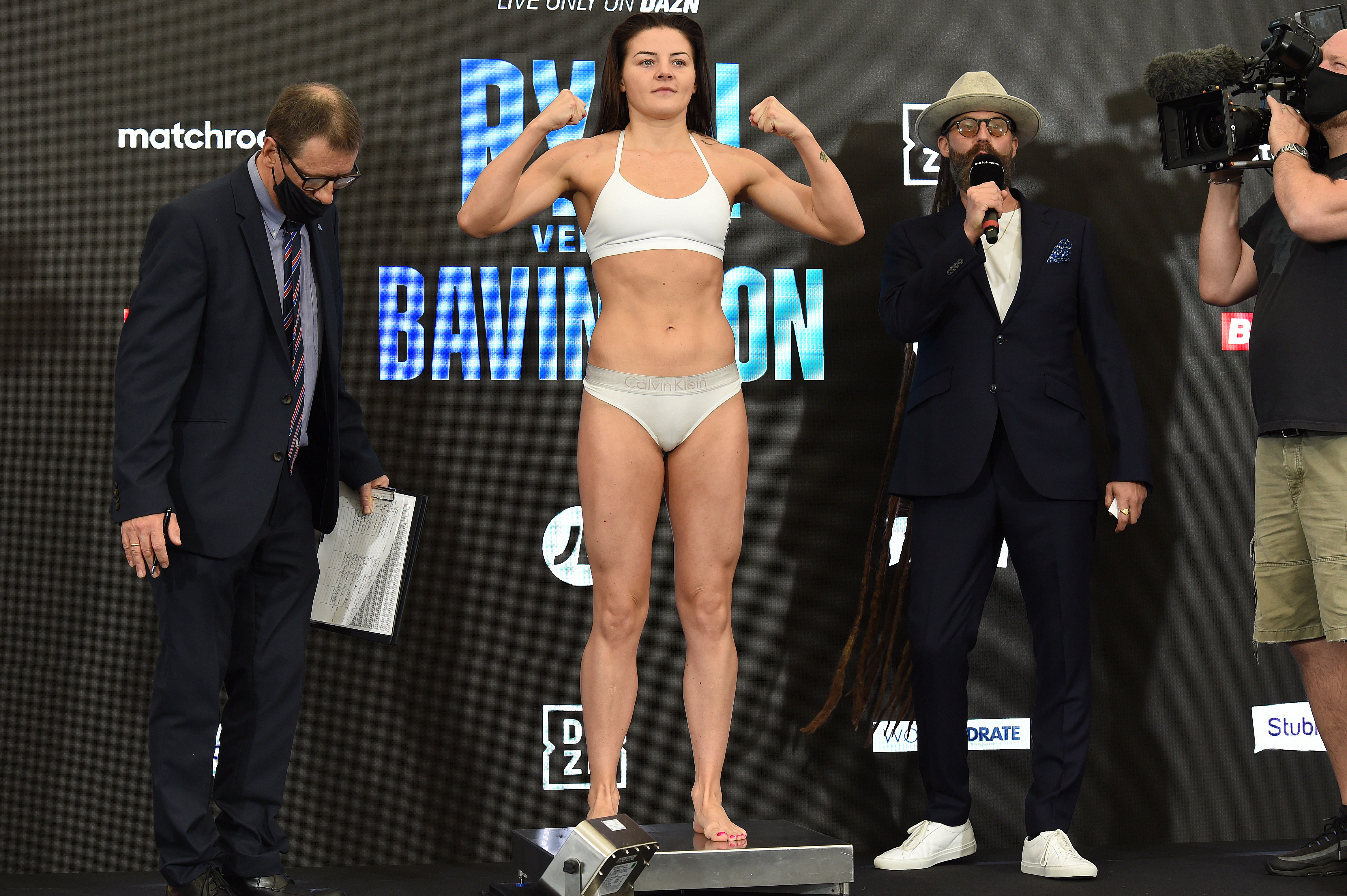 <p>BRENTWOOD, ENGLAND - JULY 30: Sandy Ryan at the Matchroom Fight Camp weigh in on July 30, 2021 in Brentwood, England. (Photo by Leigh Dawney/Getty Images)</p>