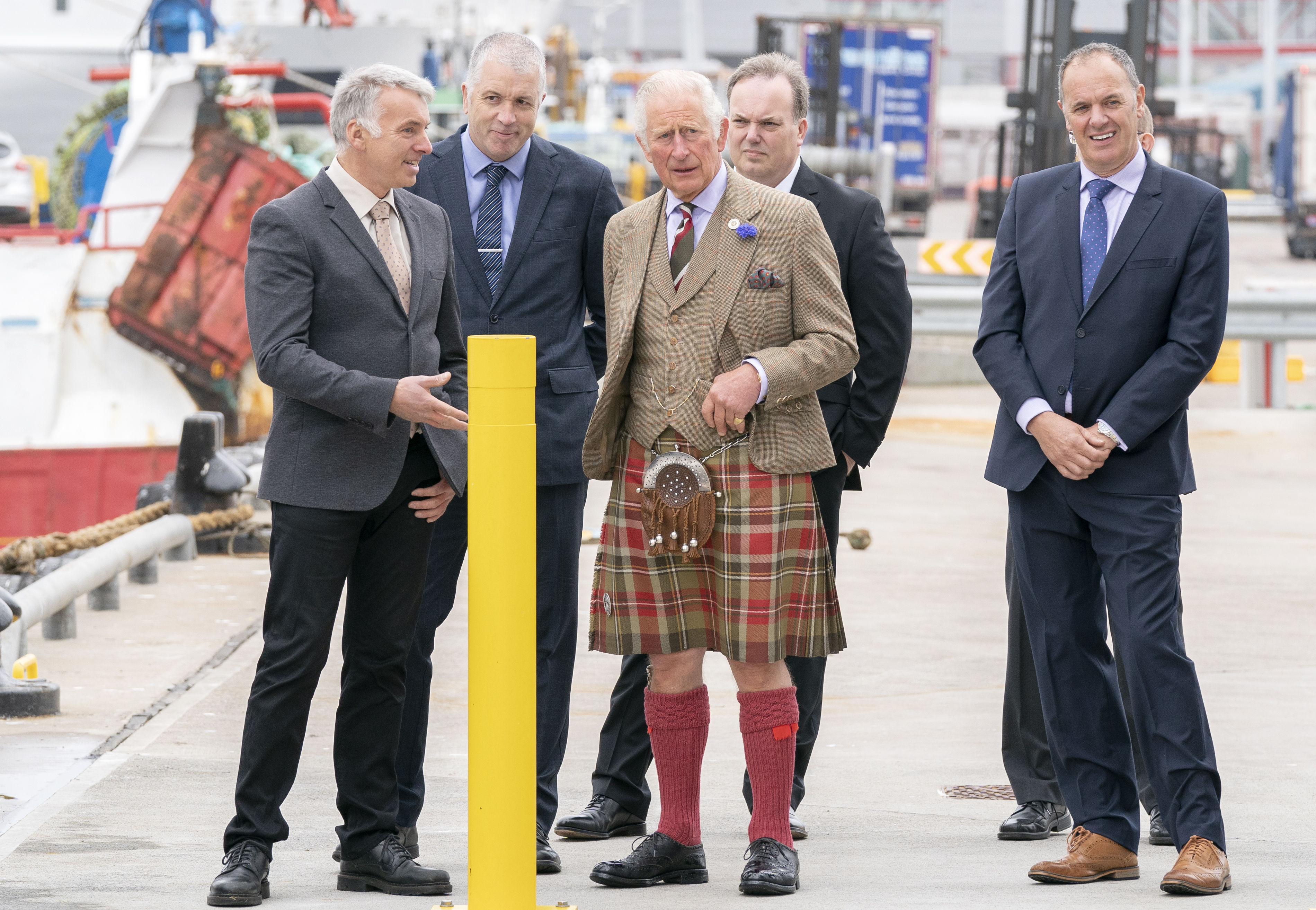 <p>The Prince of Wales, known as the Duke of Rothesay when in Scotland, during a visit to the Lerwick Harbour Fish Market at Shetland Seafood Auctions Ltd at Lerwick Fishmarket, in Lerwick, Shetland, on the second day of a two-day visit to Scotland. Picture date: Friday July 30, 2021.</p>