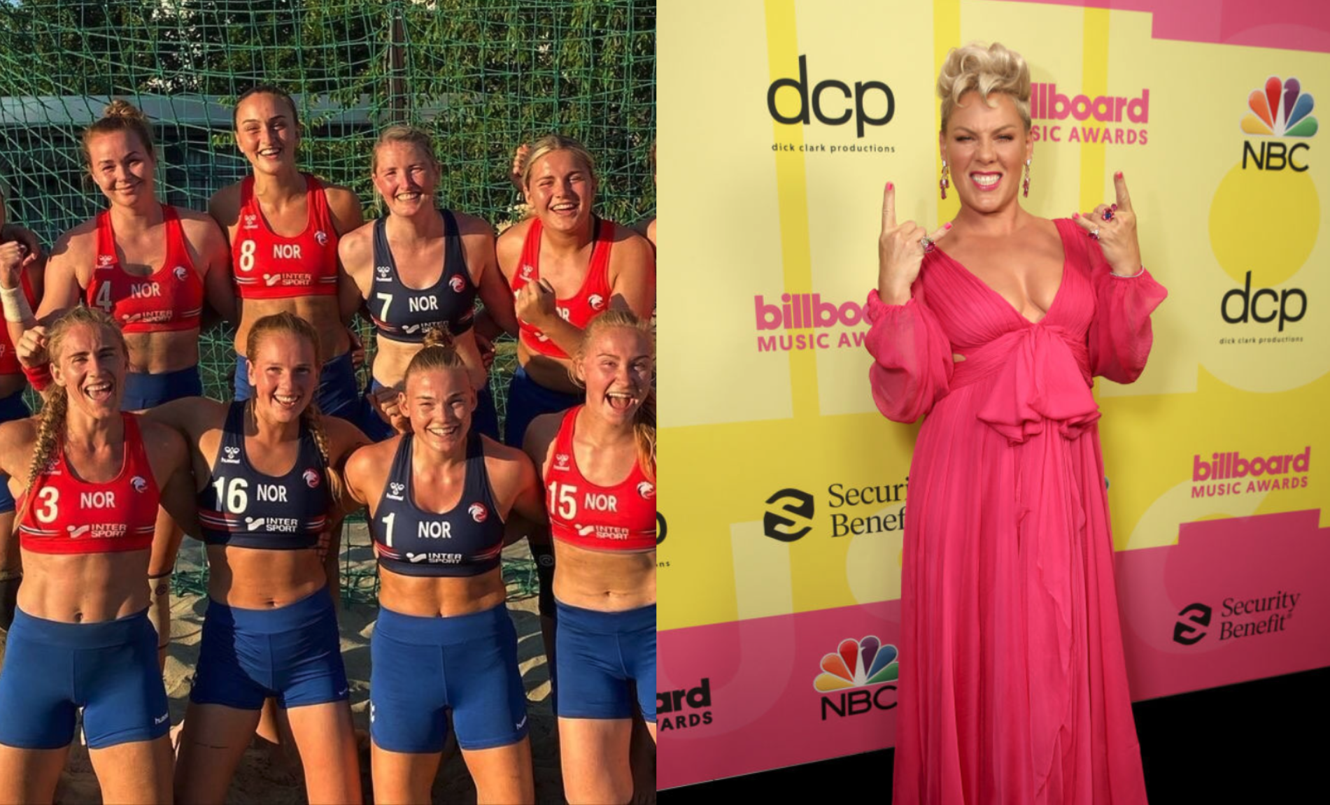 Pink offers to pay fine for handball team that broke 'sexist' uniform rule