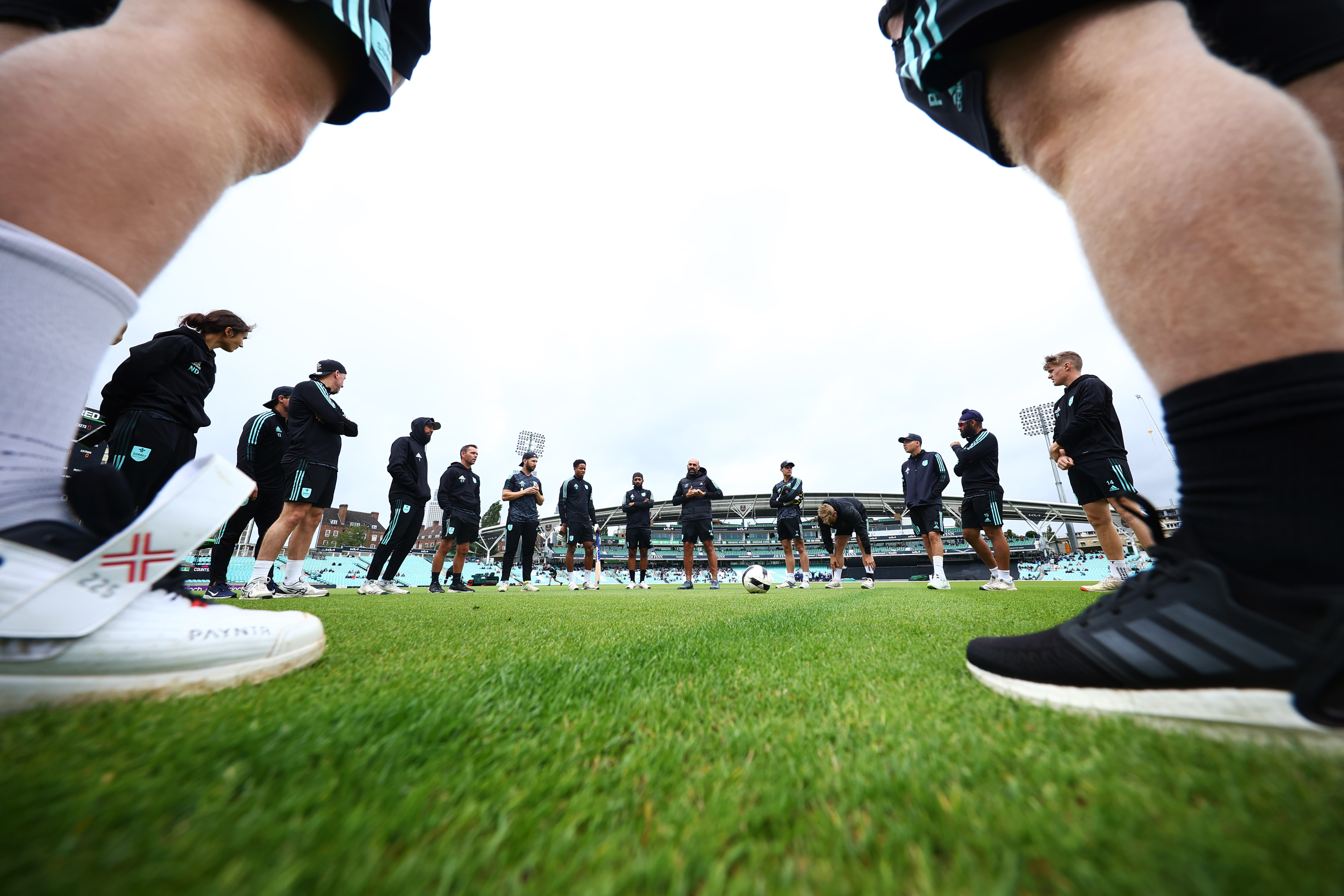 <p>LONDON, ENGLAND - JULY 30: Surrey team talk during the Royal London One Day Cup match between Surrey and Northamptonshire at The Kia Oval on July 30, 2021 in London, England. (Photo by Jordan Mansfield/Getty Images for Surrey CCC)</p>