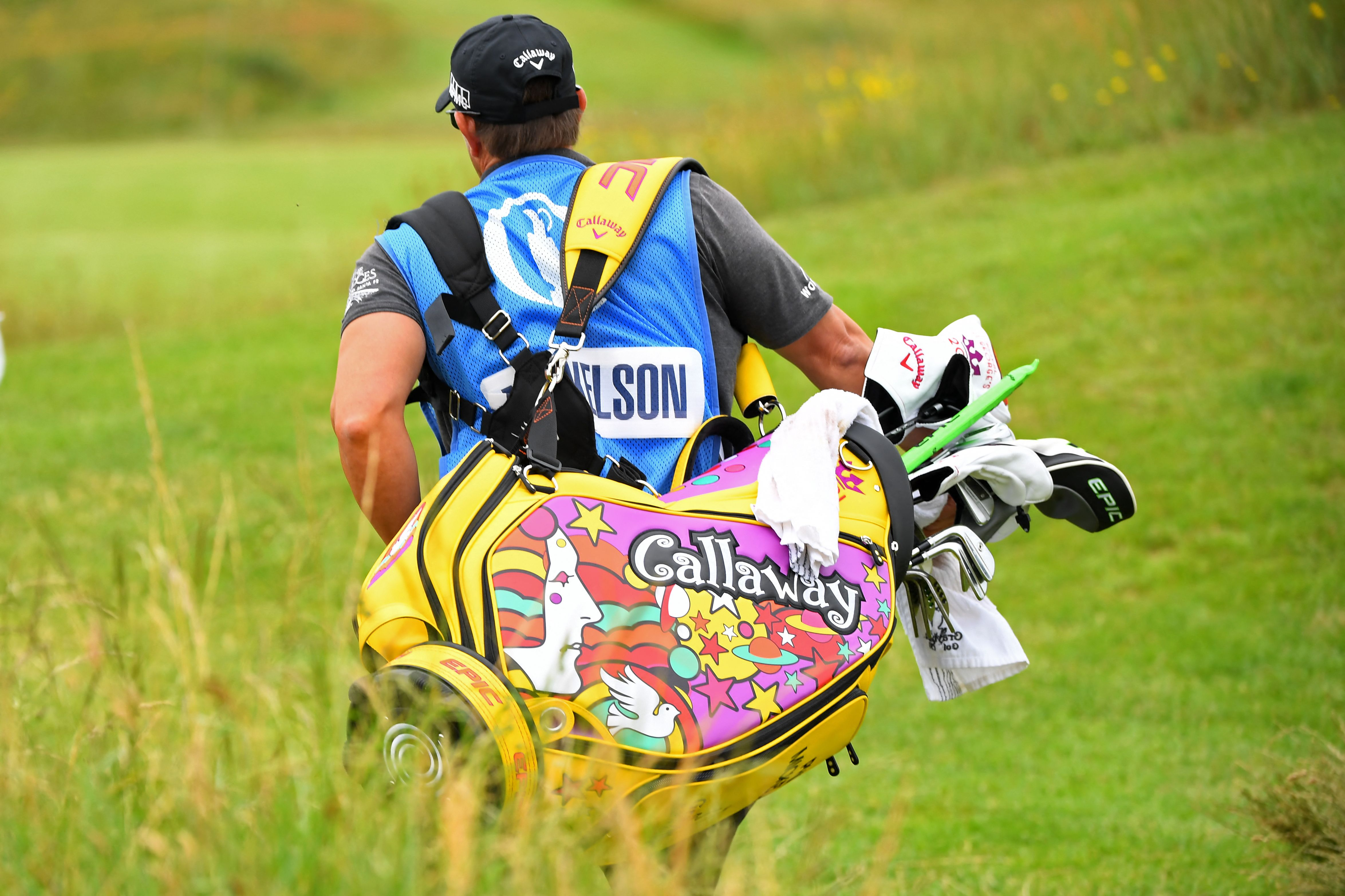 <p>US golfer Phil Mickelson's golf bag is pictured during a practice round for The 149th British Open Golf Championship at Royal St George's, Sandwich in south-east England on July 12, 2021. - RESTRICTED TO EDITORIAL USE (Photo by ANDY BUCHANAN / AFP) / RESTRICTED TO EDITORIAL USE (Photo by ANDY BUCHANAN/AFP via Getty Images)</p>
