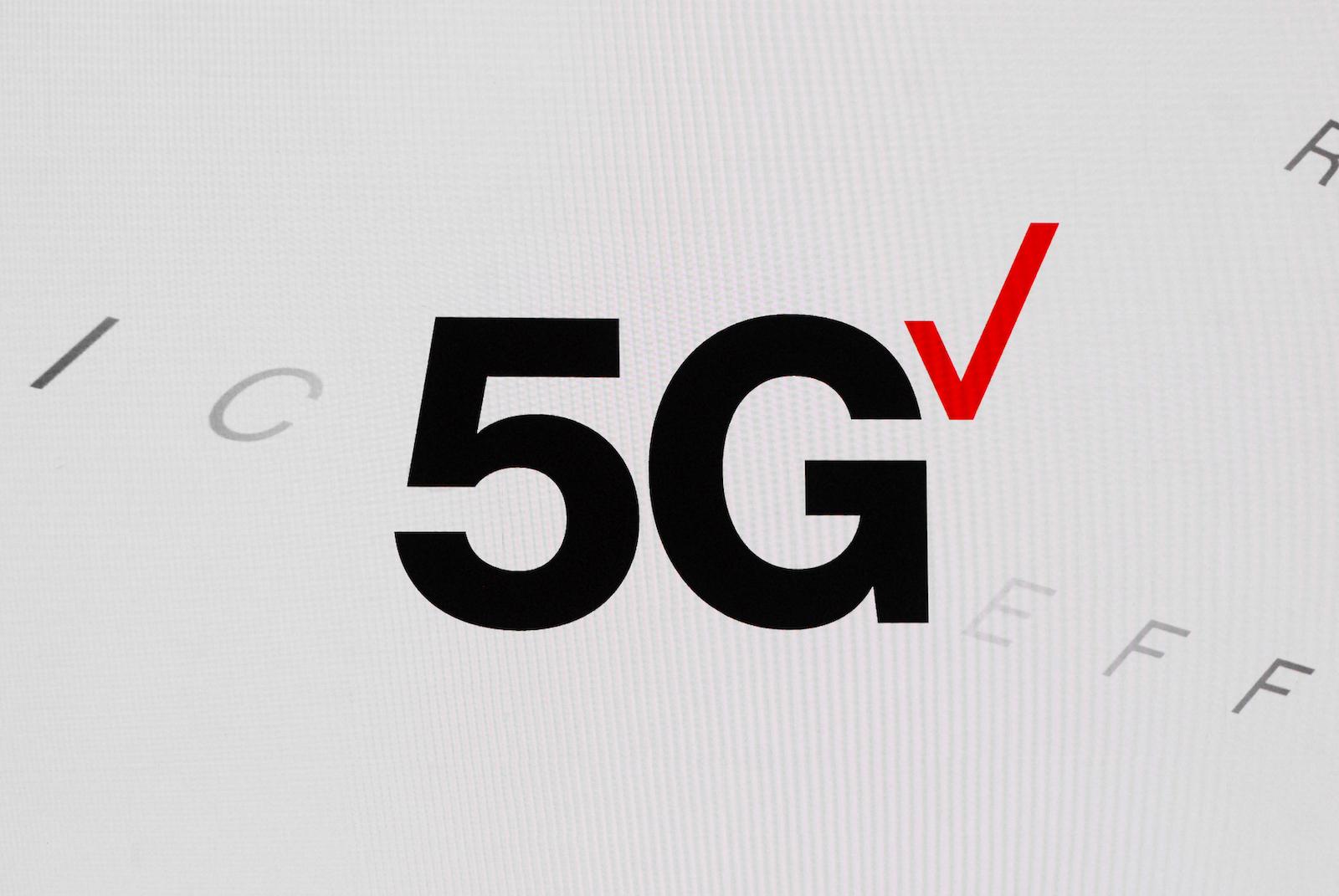 5G Verizon logotype showed during the Mobile World Congress (MWC) Barcelona, on June 28,2021 in Barcelona, Spain.  (Photo by Joan Cros/NurPhoto)