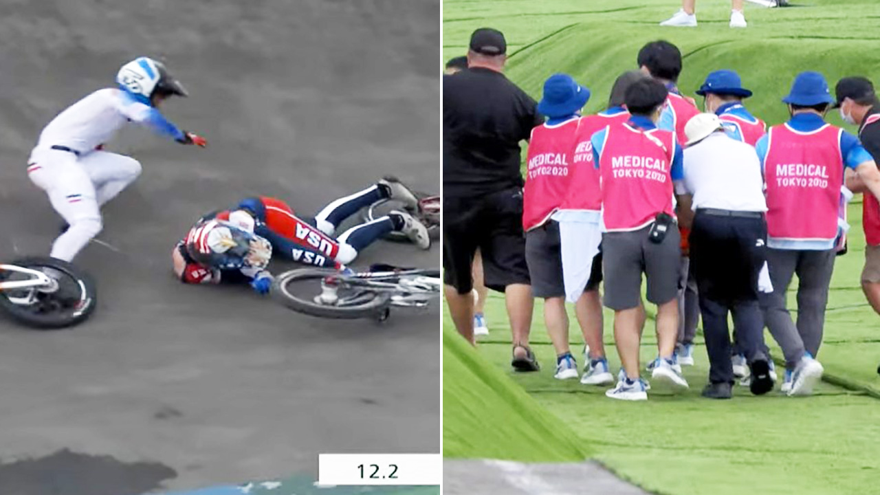 'Scary scenes': Aussie one of two awful crashes in Olympics BMX