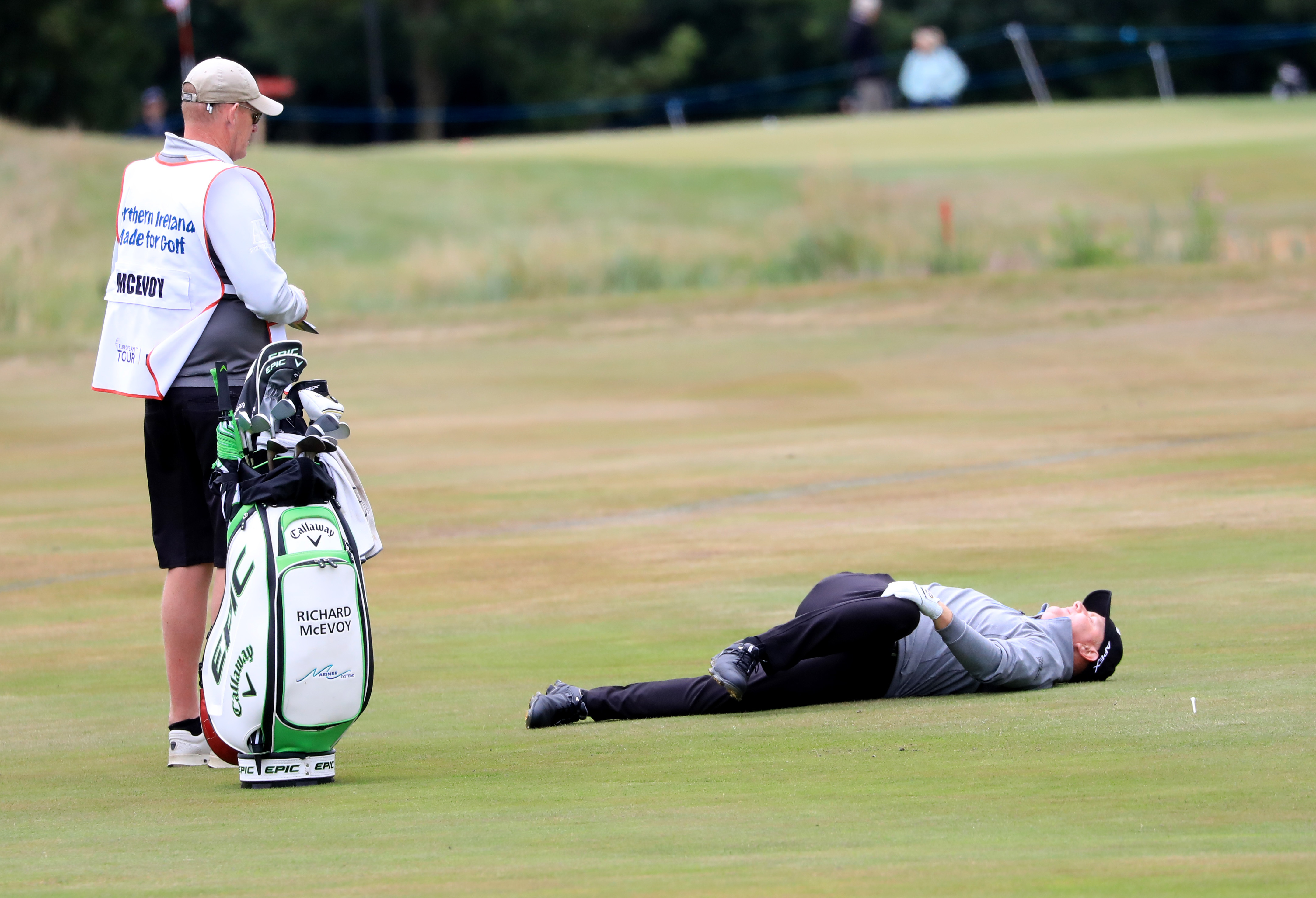 <p>England;s Richard McEvoy stretching on day two of the ISPS Handa World Invitational at Galgorm Castle Golf Club. Picture Date: Friday July 30, 2021.</p>