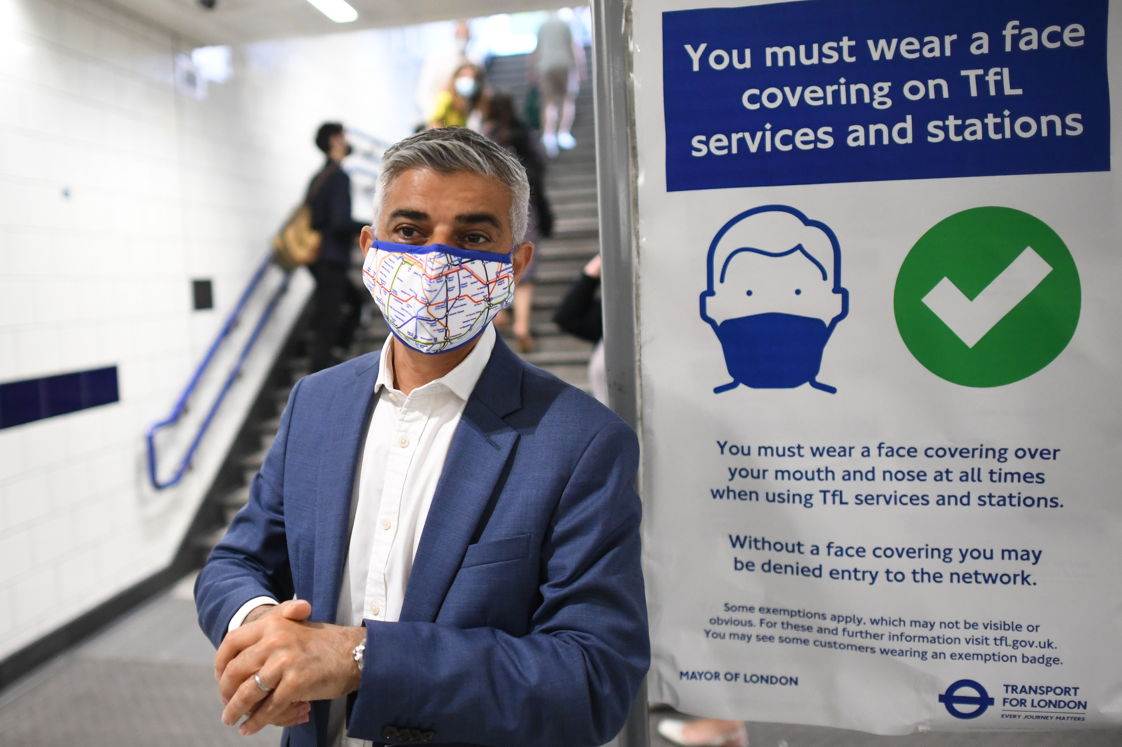 <p>Mayor of London Sadiq Khan at Bond Street underground station before his walkabout in Oxford Street, London after the final legal Coronavirus restrictions were lifted in England. Picture date: Monday July 19, 2021.</p>