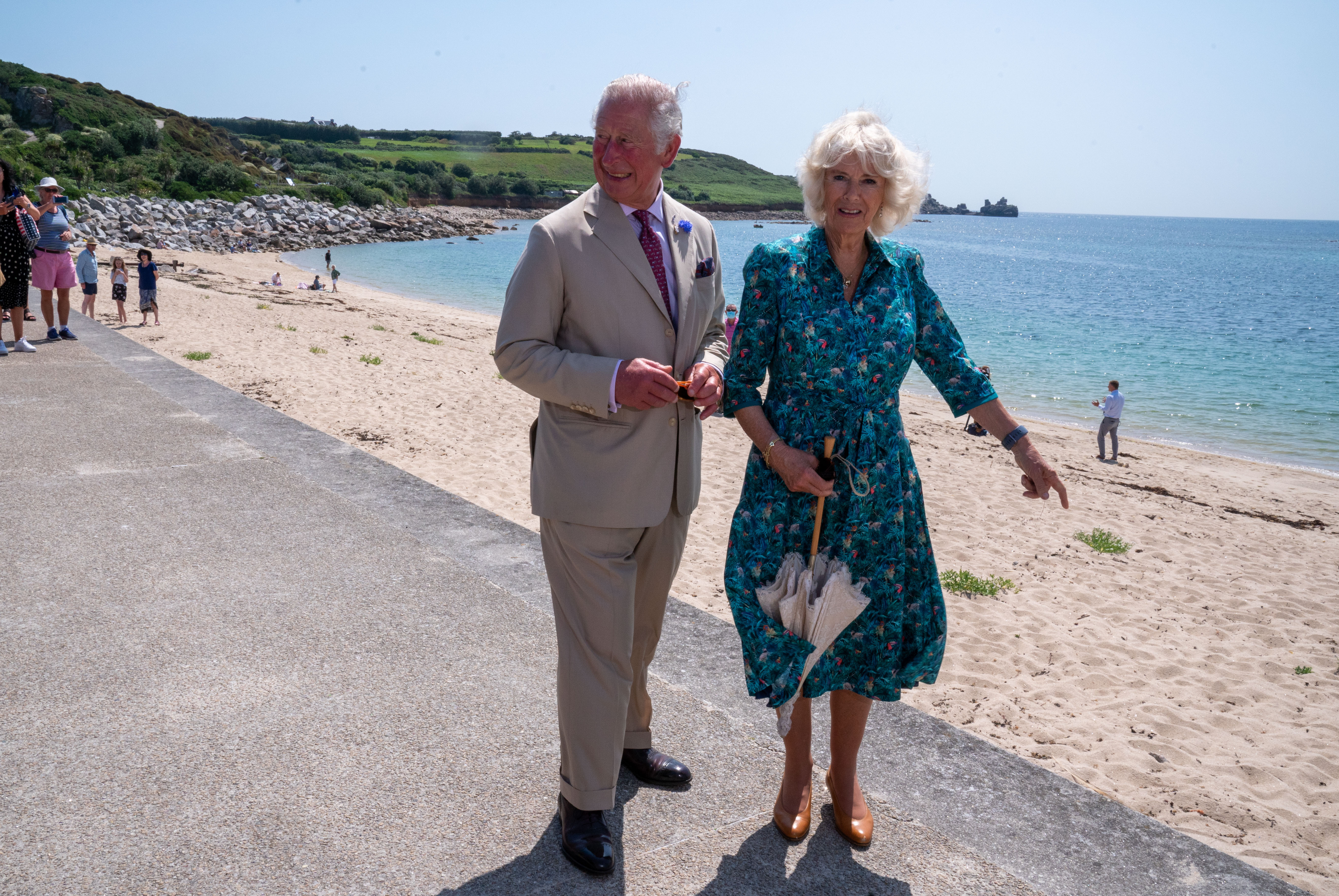 <p>The Prince of Wales and the Duchess of Cornwall, during a visit to St Mary�s Quayside, on St Mary's, Isles of Scilly. Picture date: Tuesday July 20, 2021.</p>