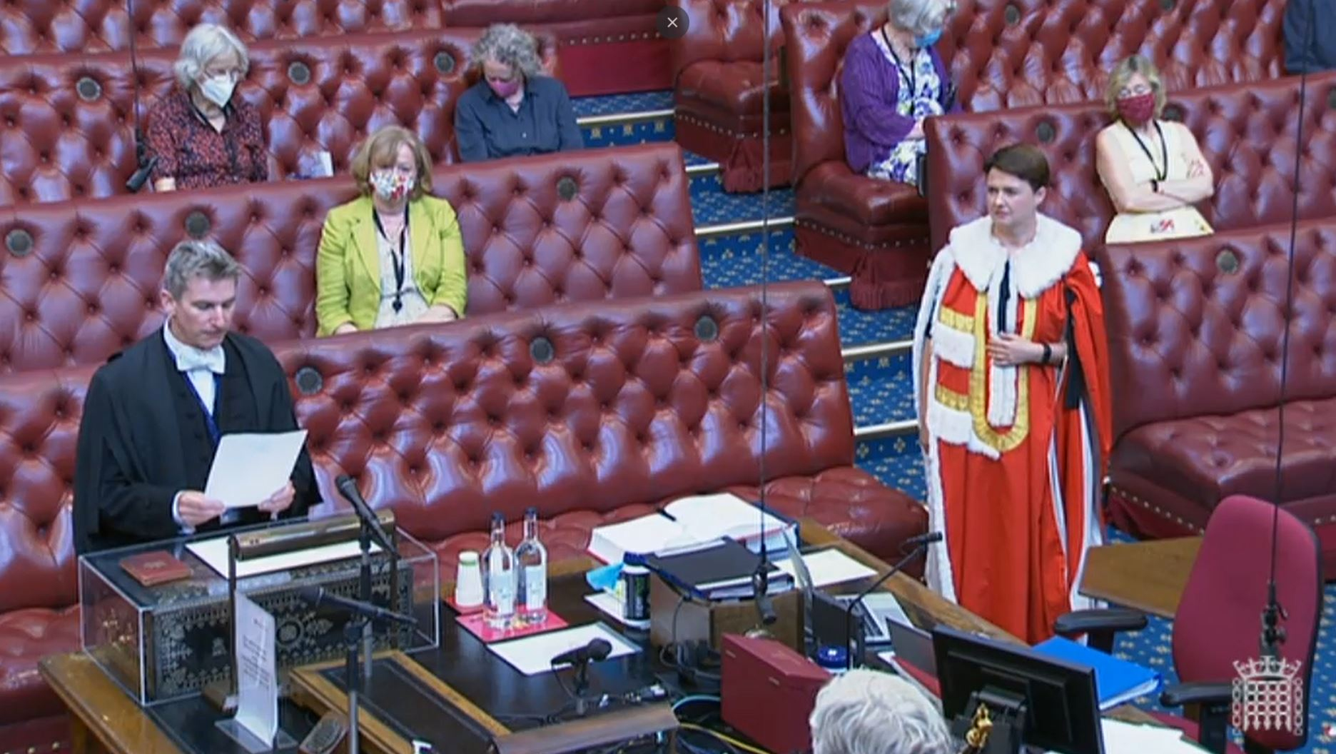 <p>Former Scottish Conservative leader Ruth Davidson has taken her seat on the red benches in the House of Lords. Baroness Davidson of Lundin Links wore the traditional scarlet robes for the short introduction ceremony in which she swore the oath of allegiance to the Queen. Picture date: Tuesday July 20, 2021.</p>