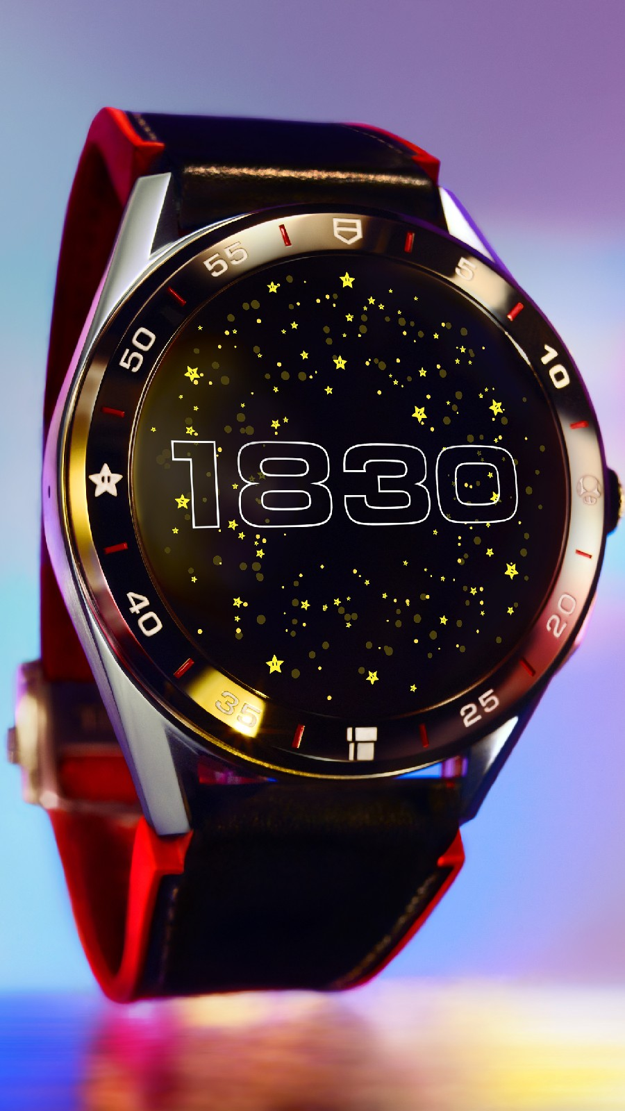 <p>Tag Heuer Connected Limited Edition Super Mario with a red-and-black strap. The watch face features the numbers 1830 in retro font, against a background of stars. [Close up]</p>
