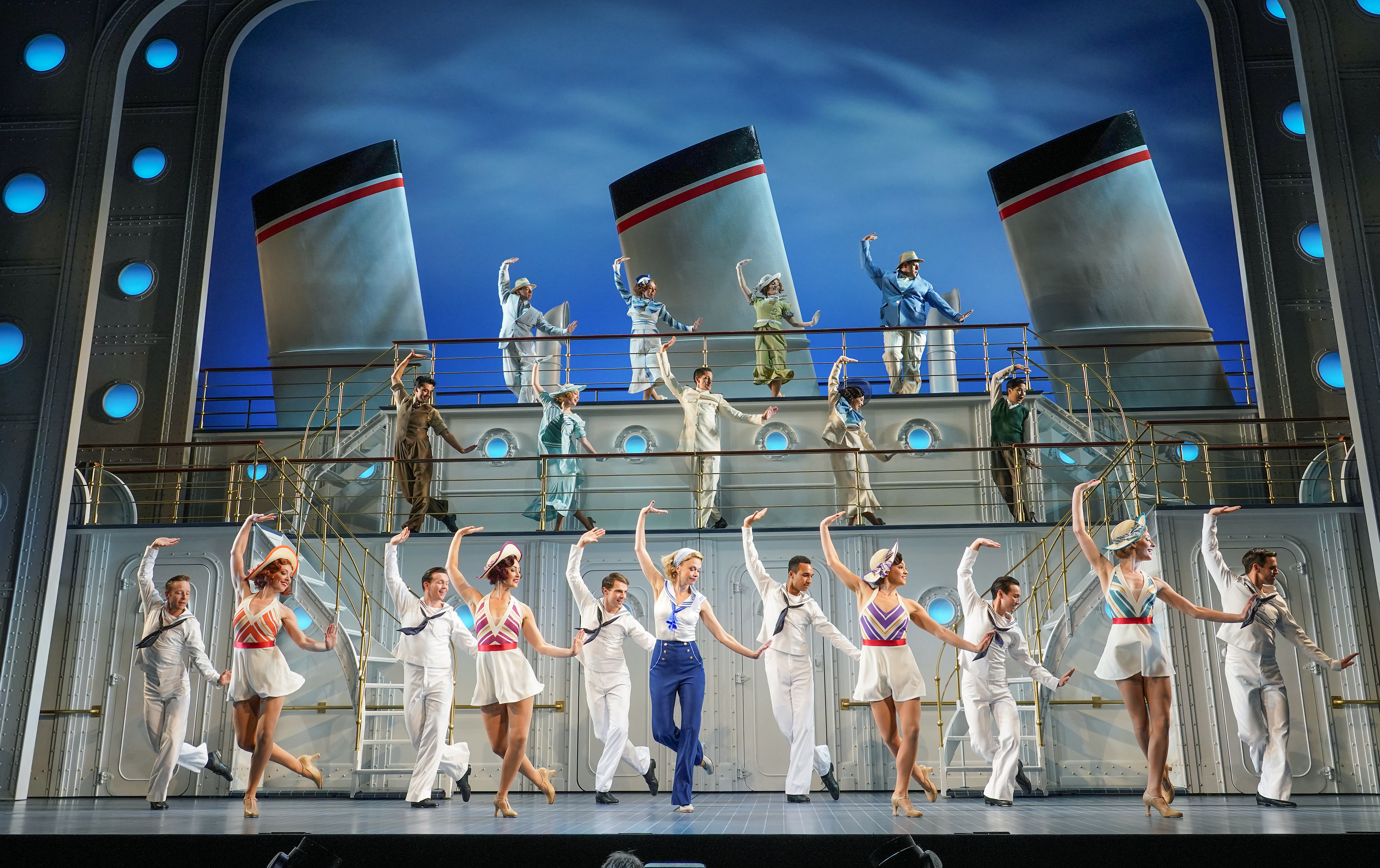 <p>Sutton Foster and the cast during a photocall for the musical Anything Goes before the production opens at the Barbican Theatre, London. Picture date: Wednesday July 28, 2021.</p>