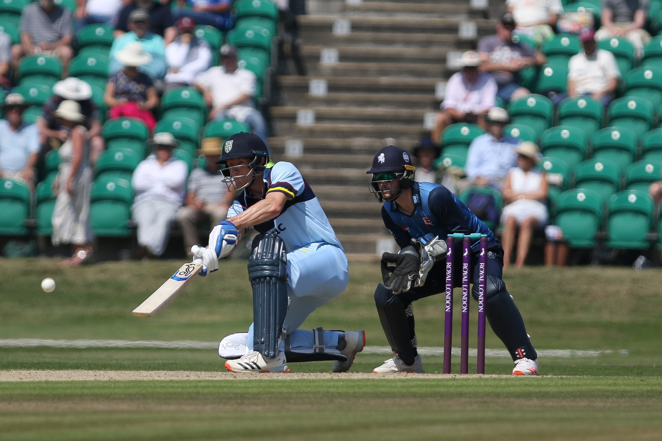 <p>Cameron Bancroft of Durham bats as Ollie Robinson of Kent looks on during the Royal London One Day Cup match between Kent and Durham at the County Ground, Beckenham, UK on 22nd July 2021. (Photo by Will Matthews/MI News/NurPhoto via Getty Images)</p>