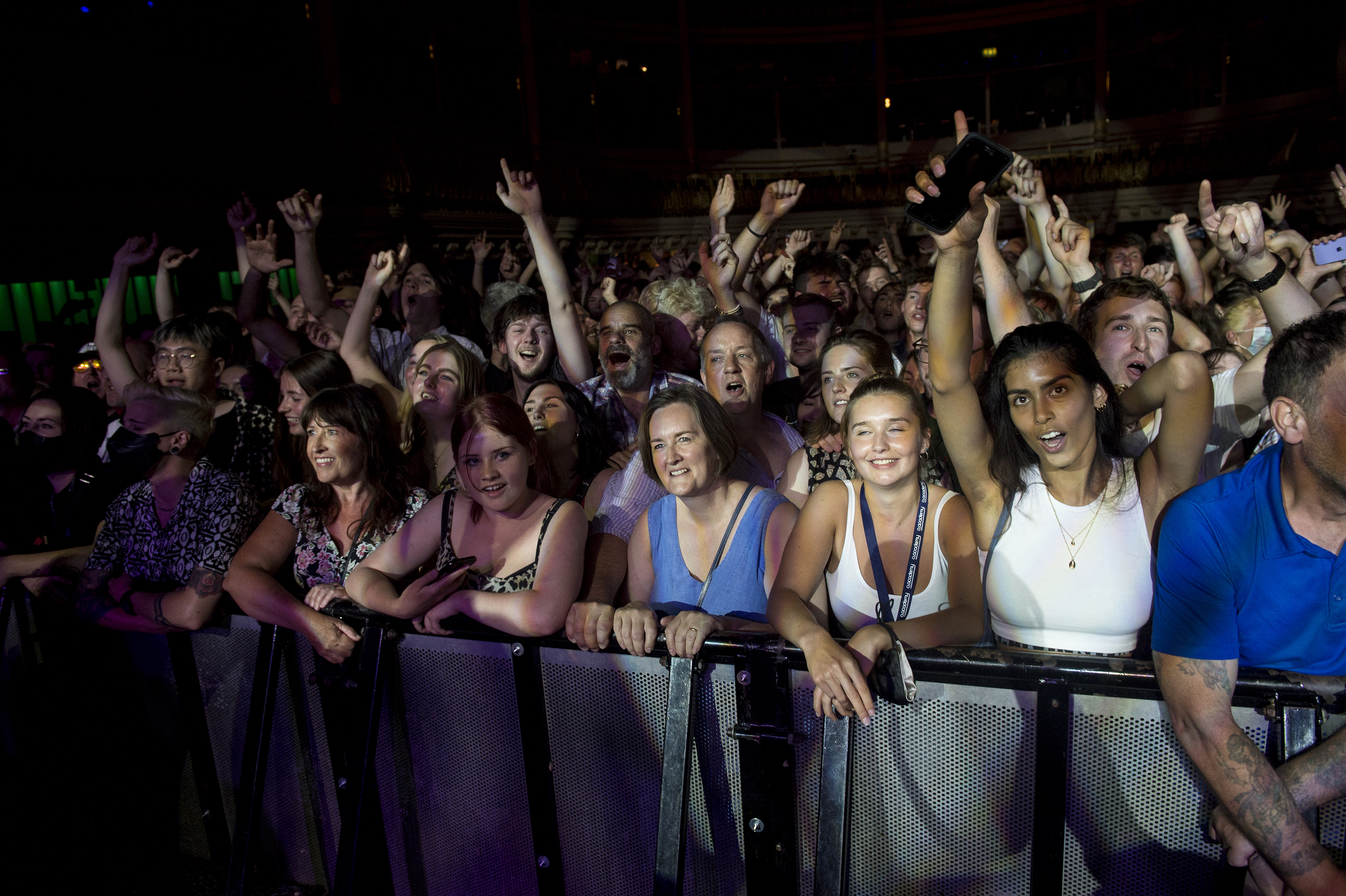 <p>BOURNEMOUTH, ENGLAND - JULY 22: Fans of Wolf Alice attend their concert at O2 Academy Bournemouth on July 22, 2021 in Bournemouth, England. (Photo by Mark Holloway/Redferns)</p>