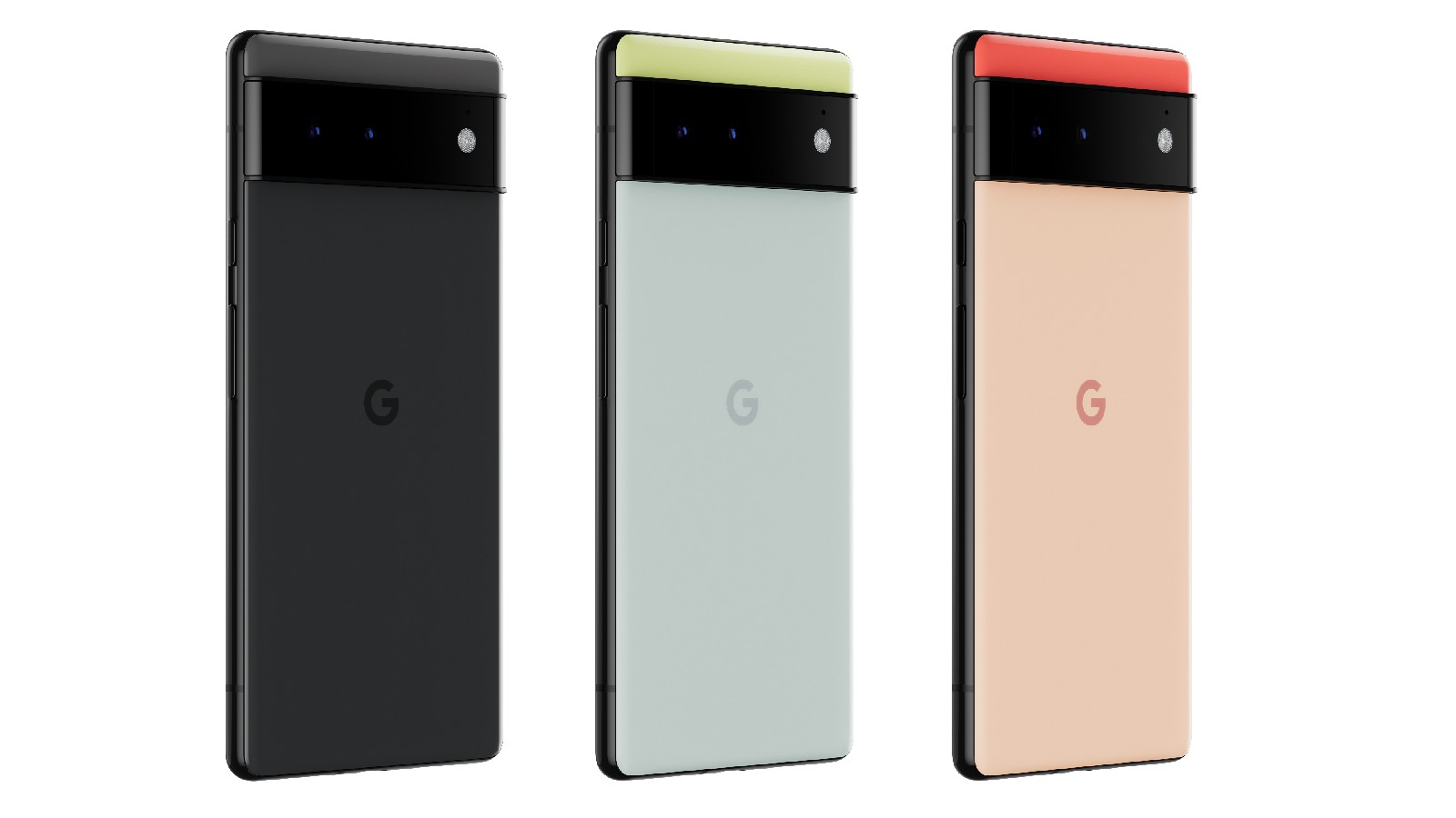 Three Pixel 6 phones. From left to right, their color schemes are black/black, green/blue and red/peach.