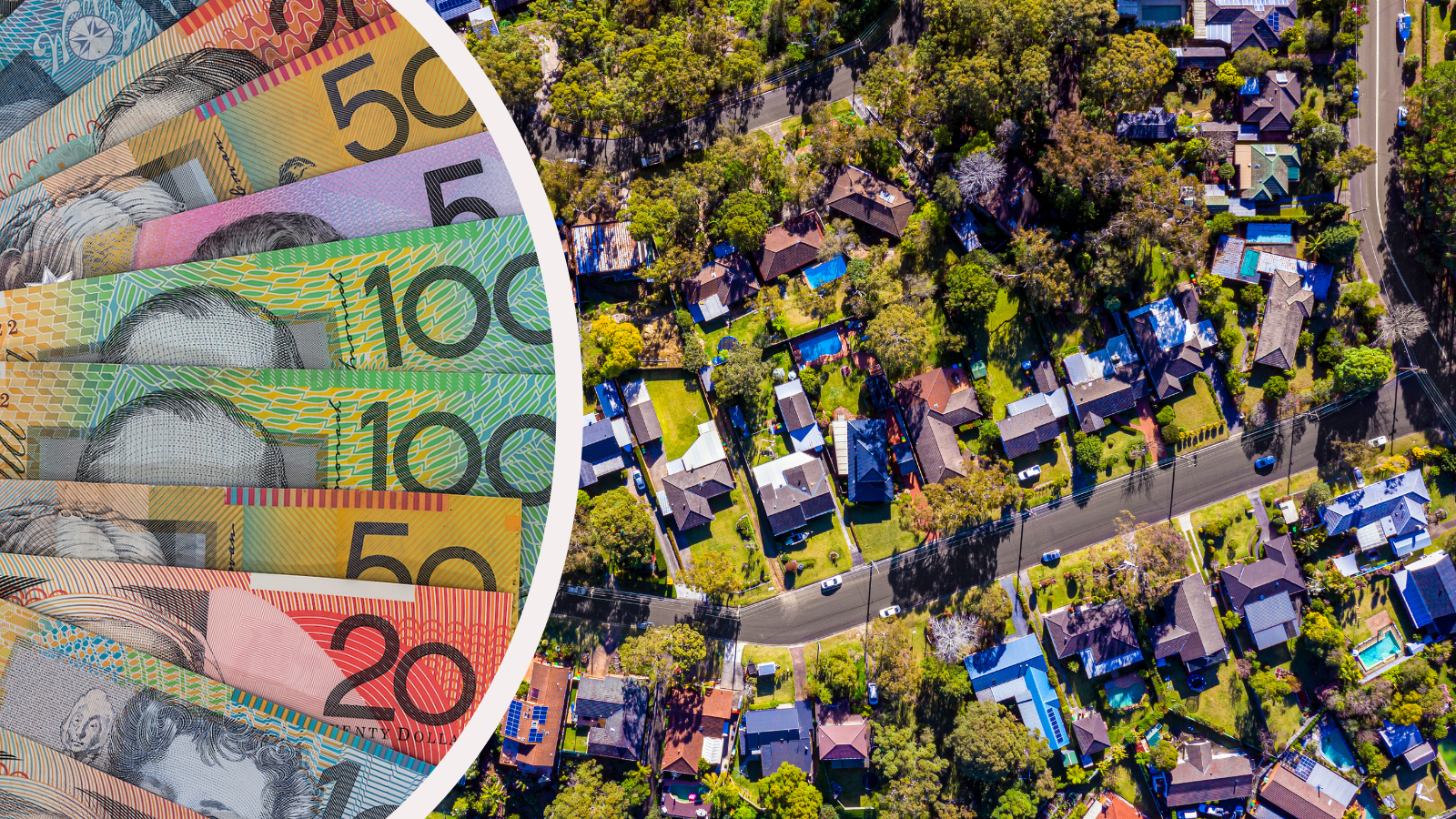 Australian currency fanned out and an aerial shot of an Australian suburb.