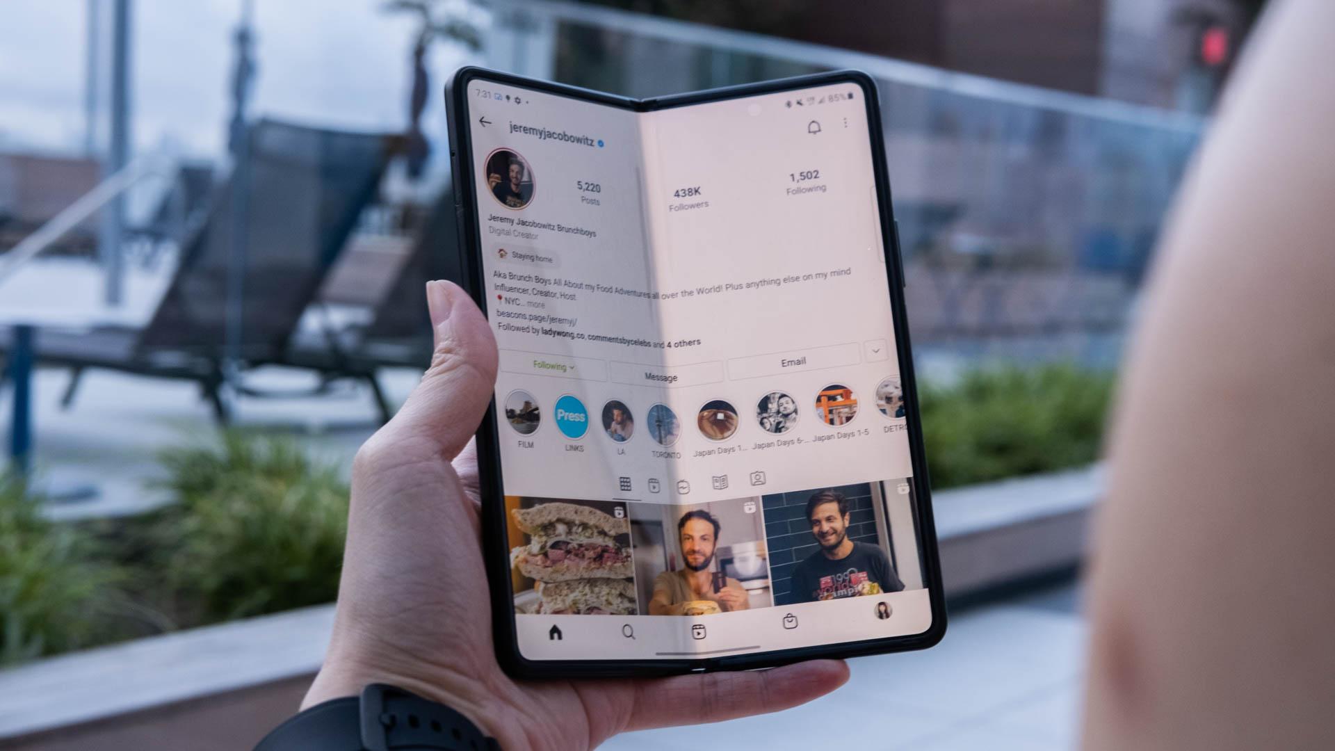 Browsing Instagram on the Samsung Galaxy Z Fold 3