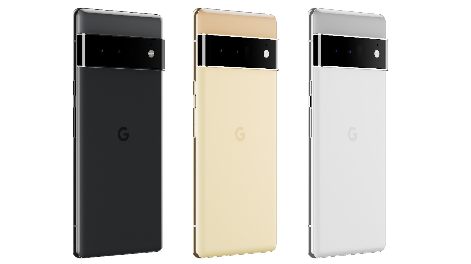 A trio of Pixel 6 Pros. From left to right, their color schemes are: Black/black, Gold/yellow and Grey/silver.