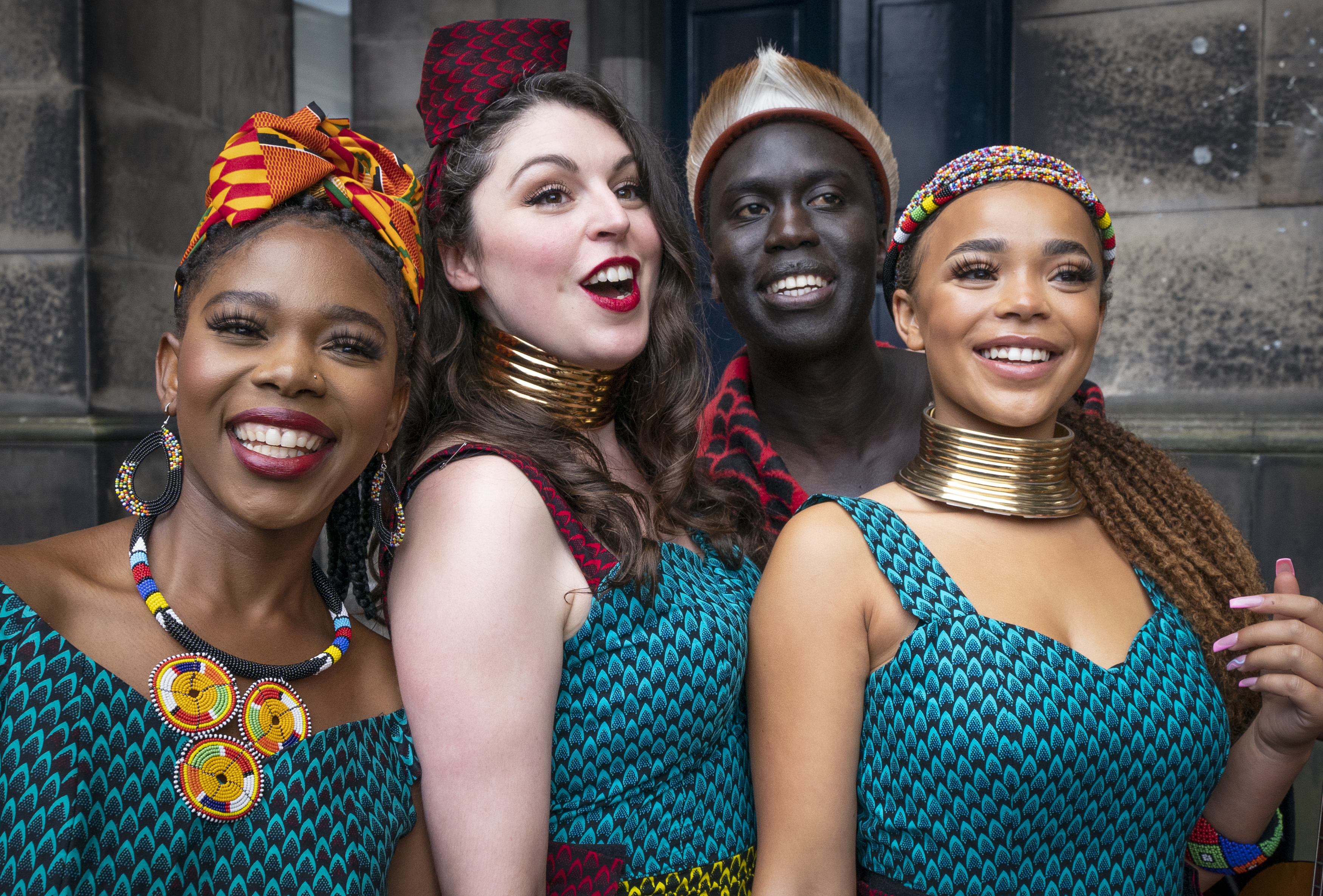 <p>Performers from Shona the Musical Choir at a photocall for the launch of the Edinburgh International Festival 2021, at Edinburgh Old College. Picture date: Friday August 6, 2021.</p>