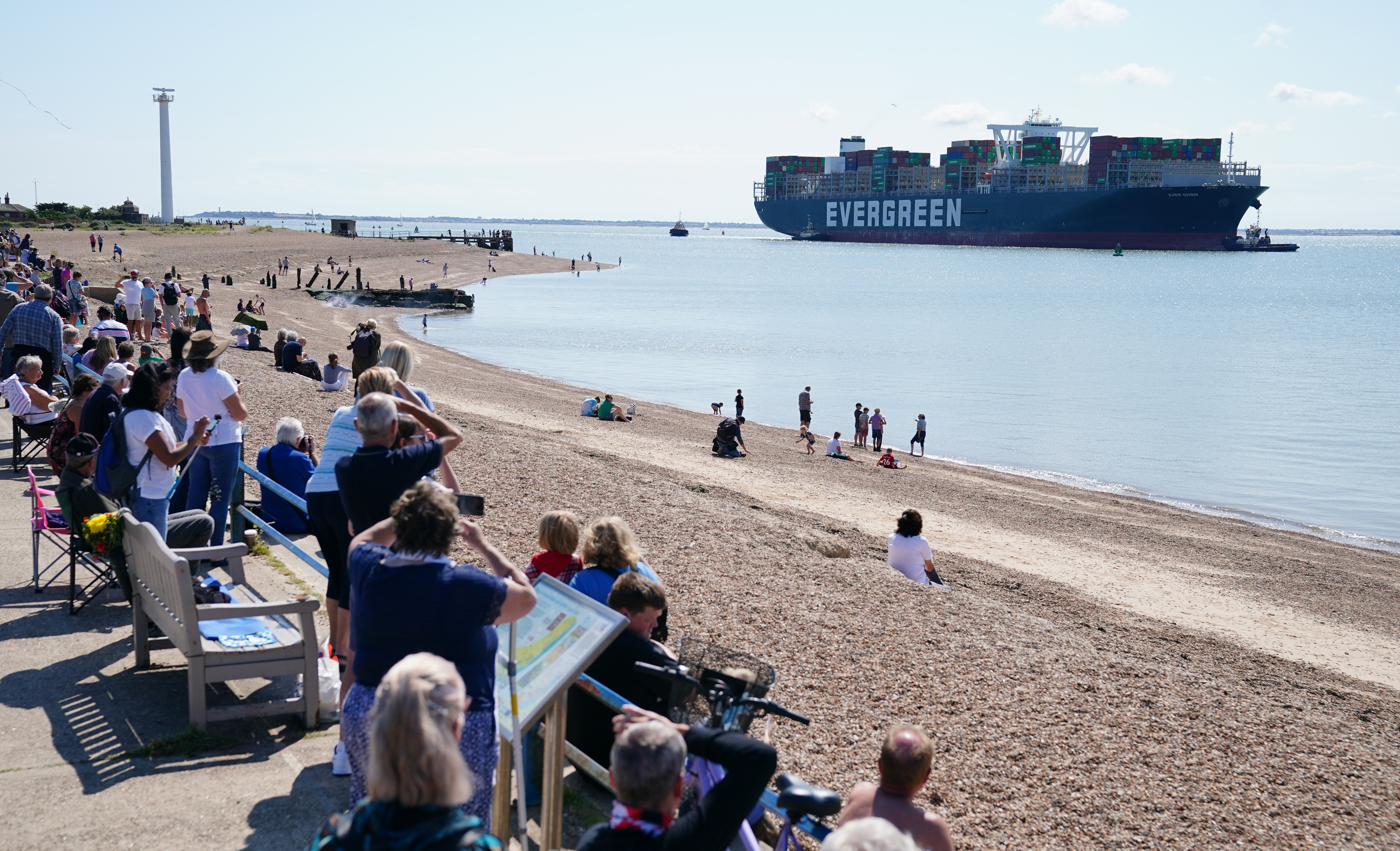 <p>The container ship Ever Given, chartered and operated by container transportation and shipping company Evergreen Marine, arrives at the Port of Felixstowe in Suffolk. The huge container ship that blocked the Suez Canal is preparing to dock in the UK for the first time since causing disruption to global shipping. Picture date: Tuesday August 3, 2021.</p>