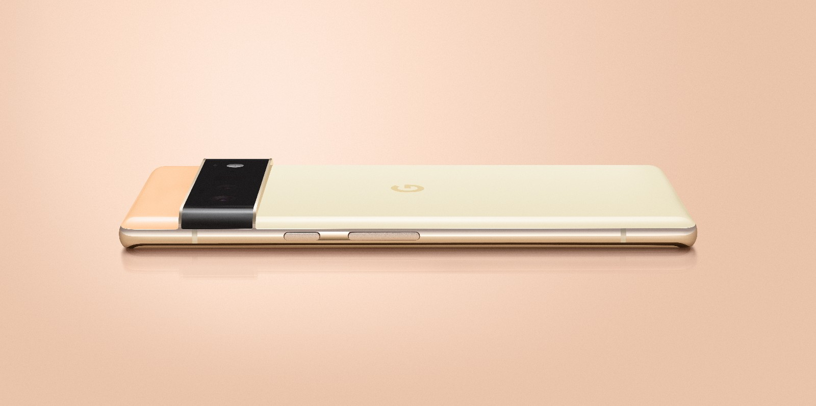 Side view of the peach/gold Pixel 6 Pro.