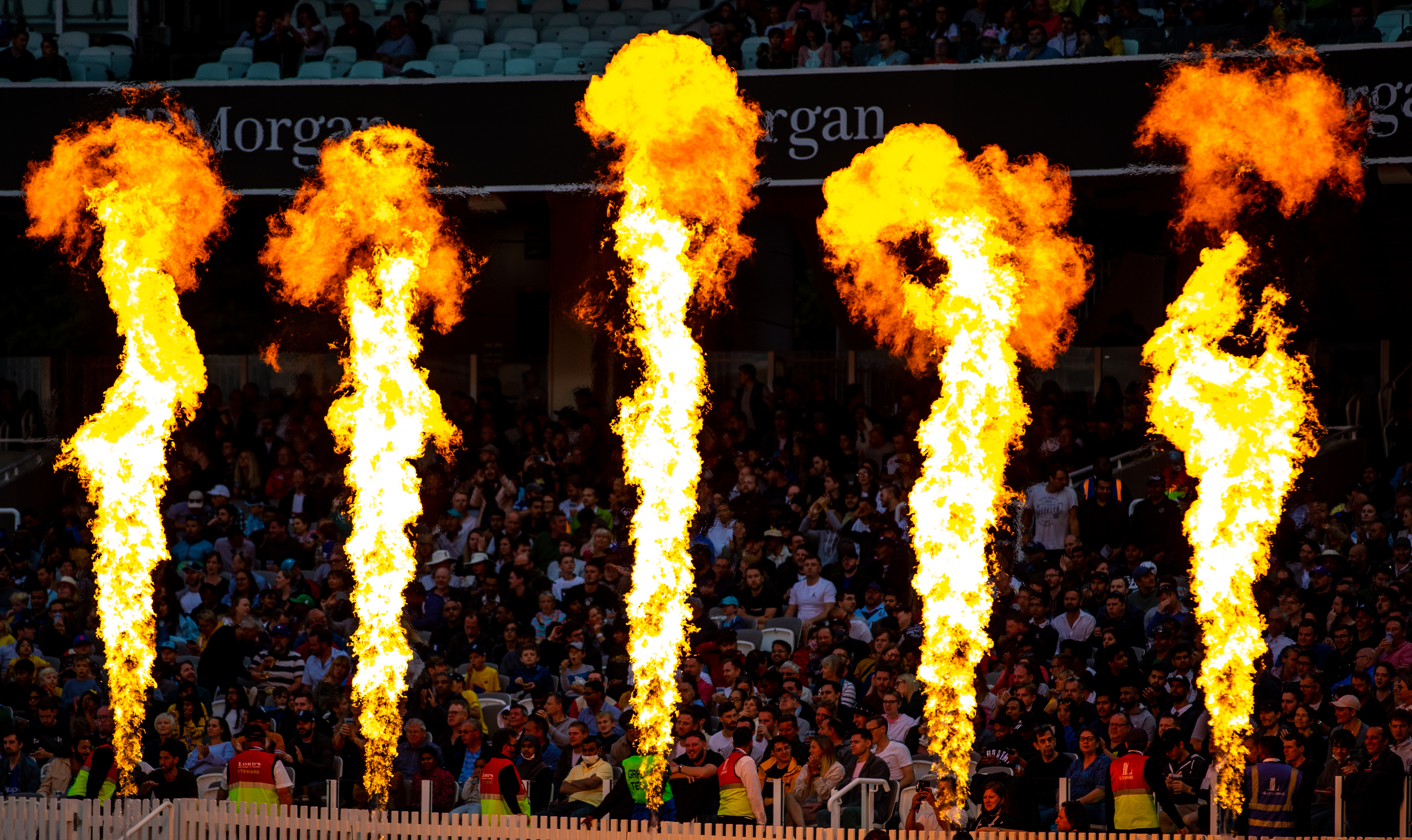 <p>General view pyrotechnics going off during The Hundred match at Lord's, London. Picture date: Sunday August 1, 2021.</p>
