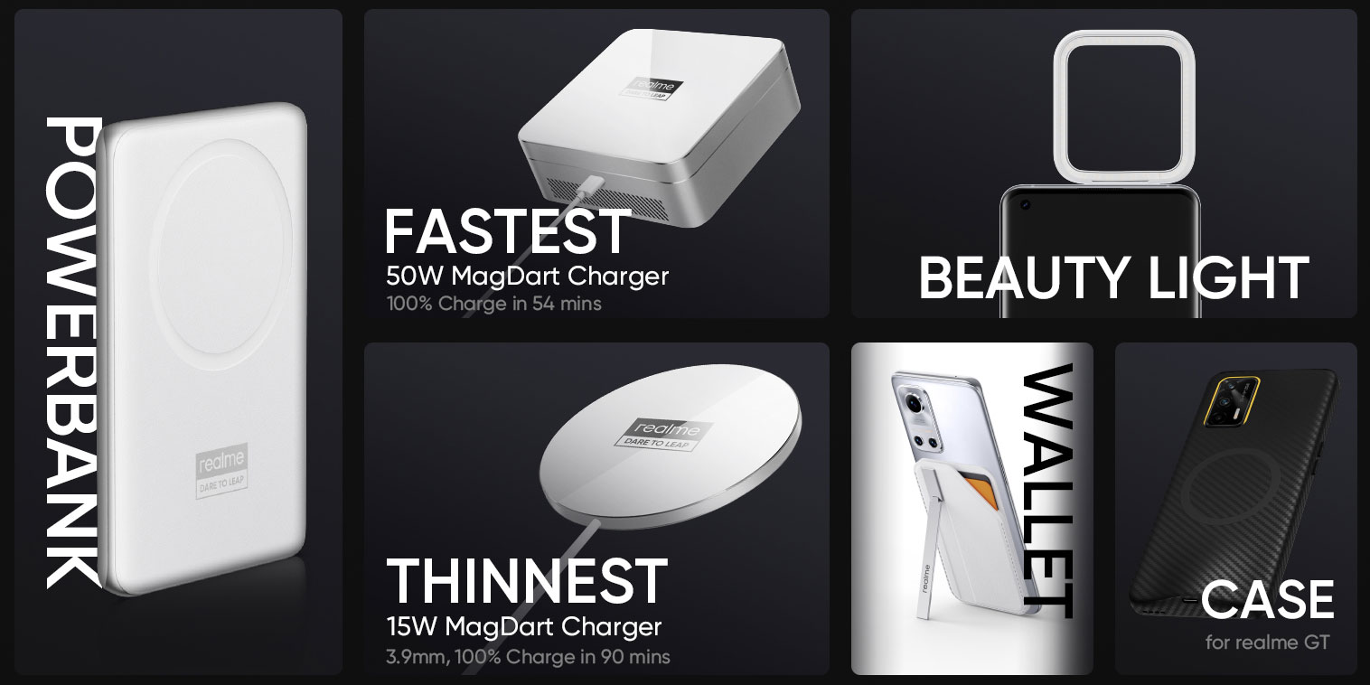 MagDart 2-in-1 power bank, 50W MagDart charger, 15W MagDart charger, MagDart beauty light, MagDart wallet and MagDart case for Realme GT.